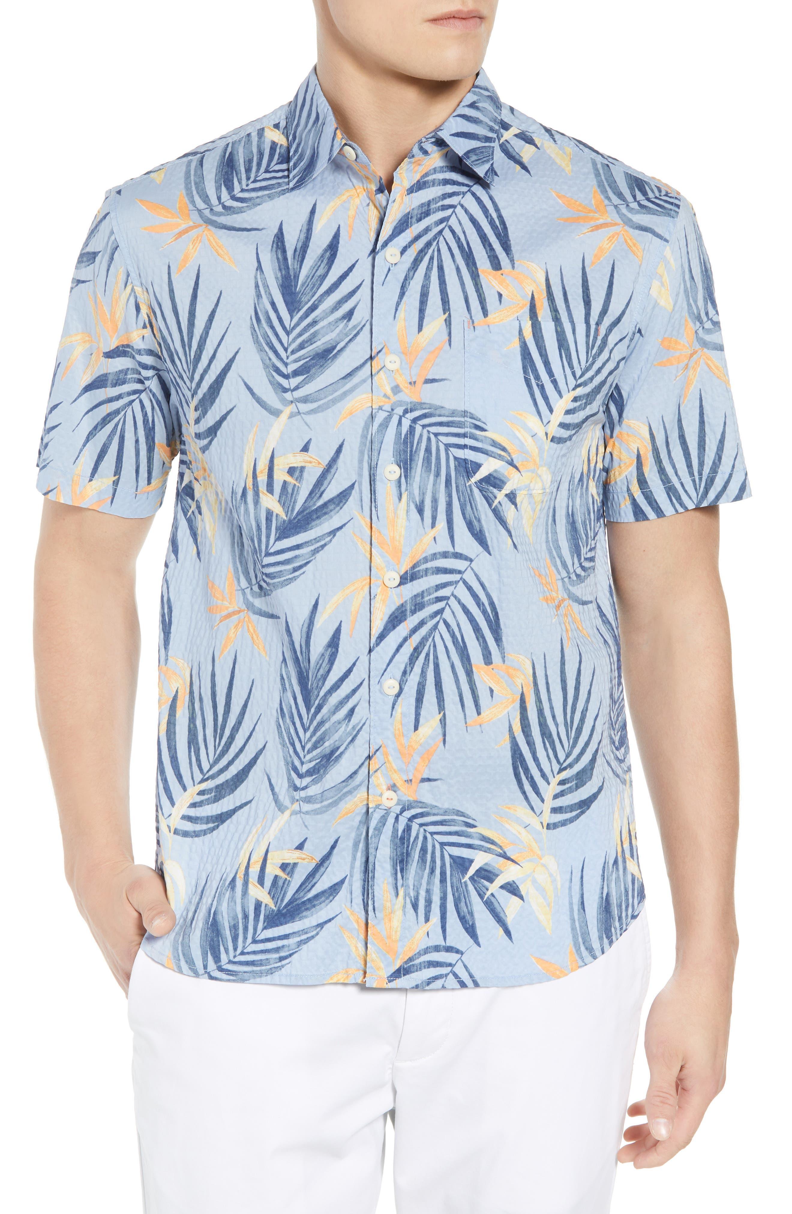 Fiesta Fronds Seersucker Sport Shirt,                         Main,                         color, Fluid Blue