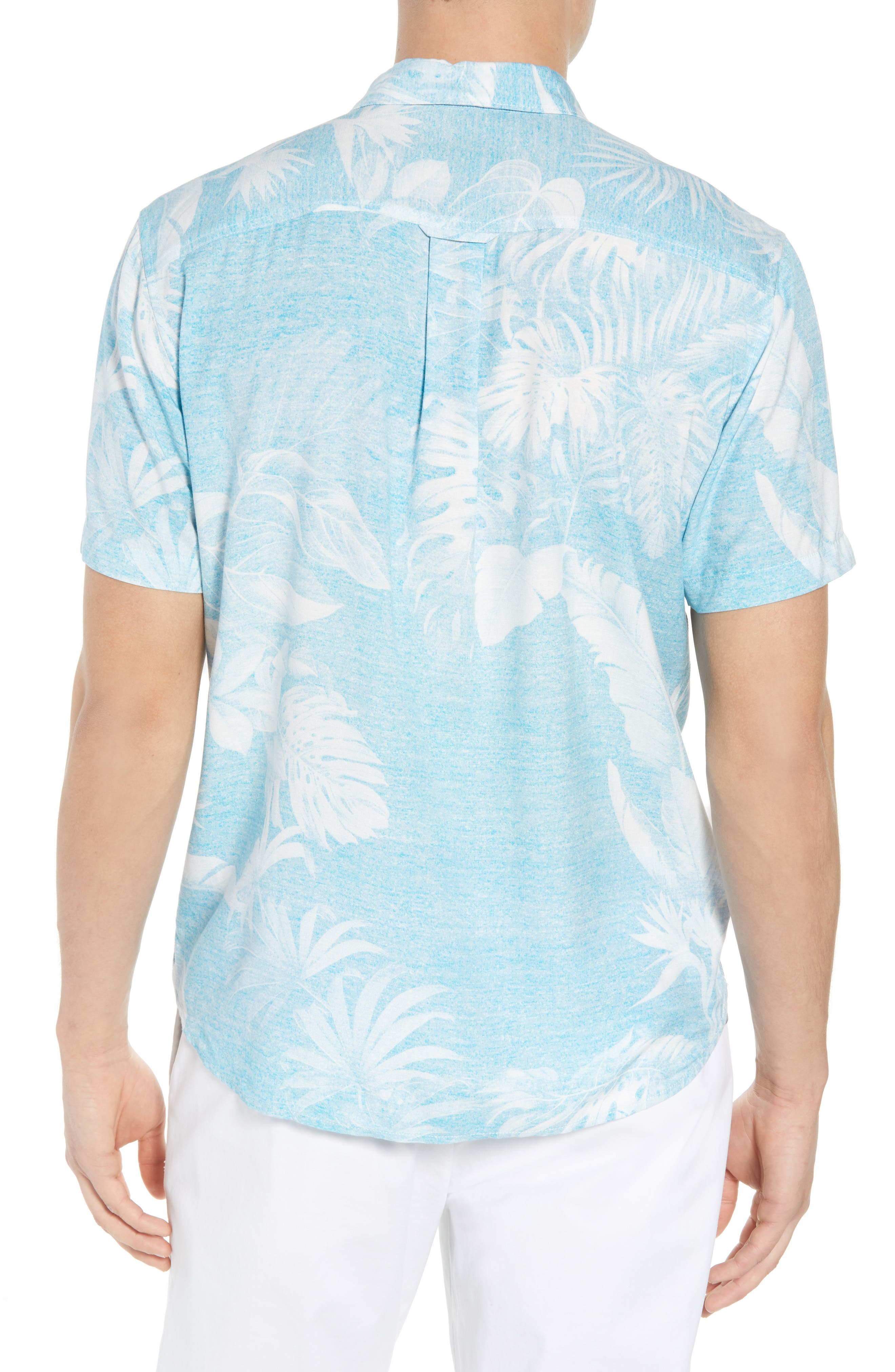Grande Fronds Sport Shirt,                             Alternate thumbnail 3, color,                             Blue Radiance