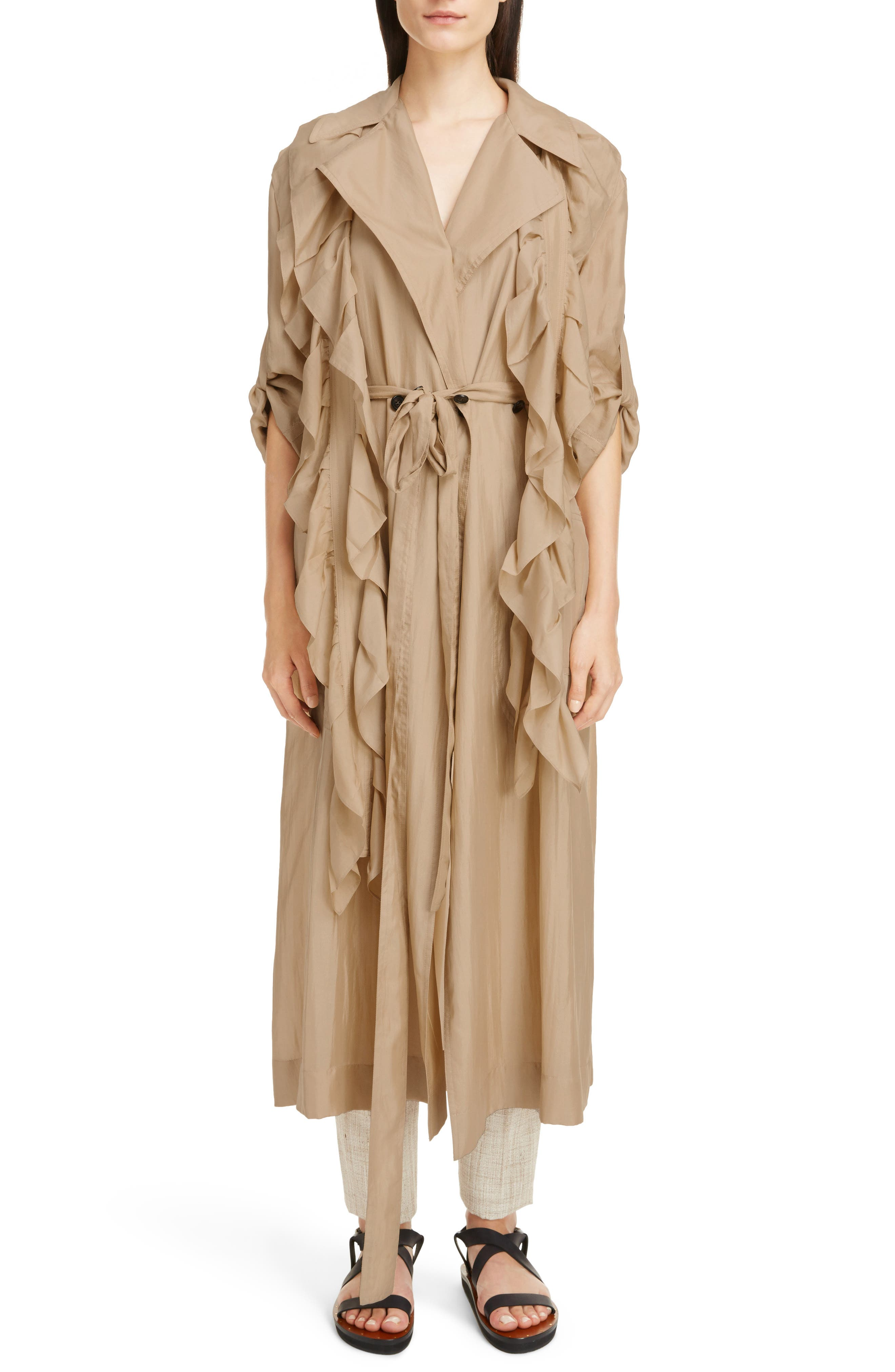 Victoria Beckham Removable Ruffle Silk Habotai Trench Coat