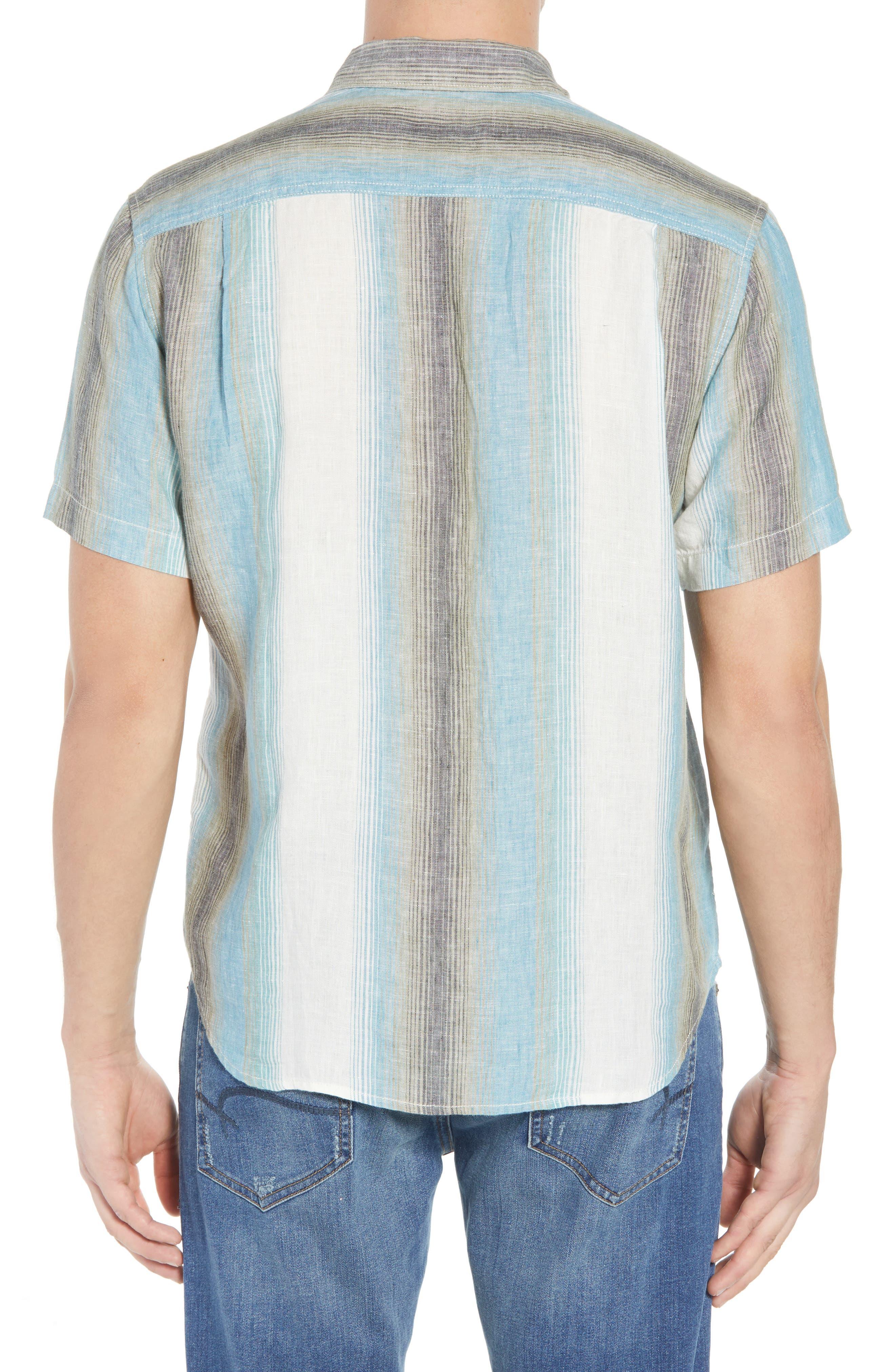 Sanchez Stripe Linen Sport Shirt,                             Alternate thumbnail 3, color,                             Voyager Blue