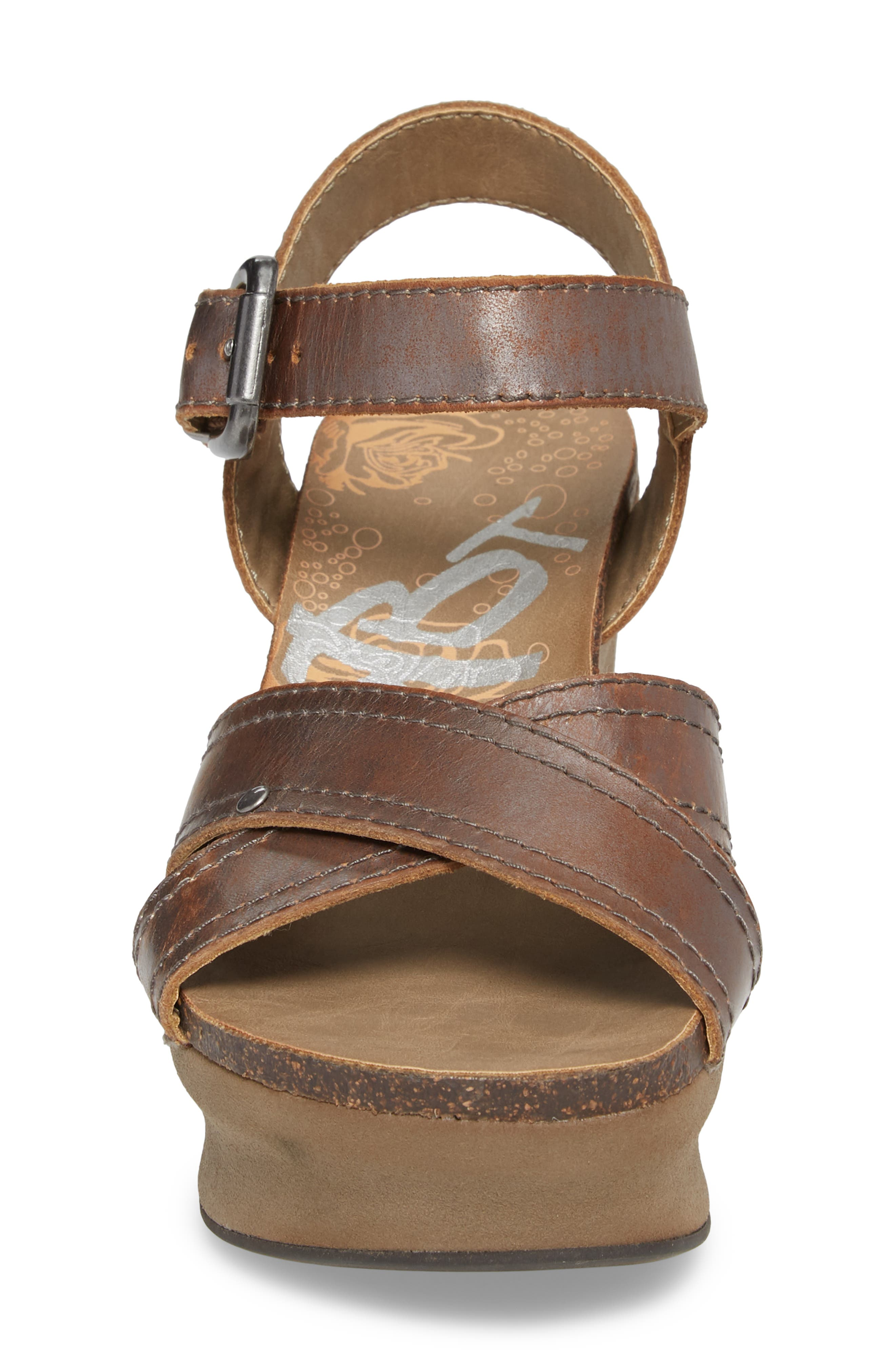 Bee Cave Wedge Sandal,                             Alternate thumbnail 4, color,                             Pewter Leather