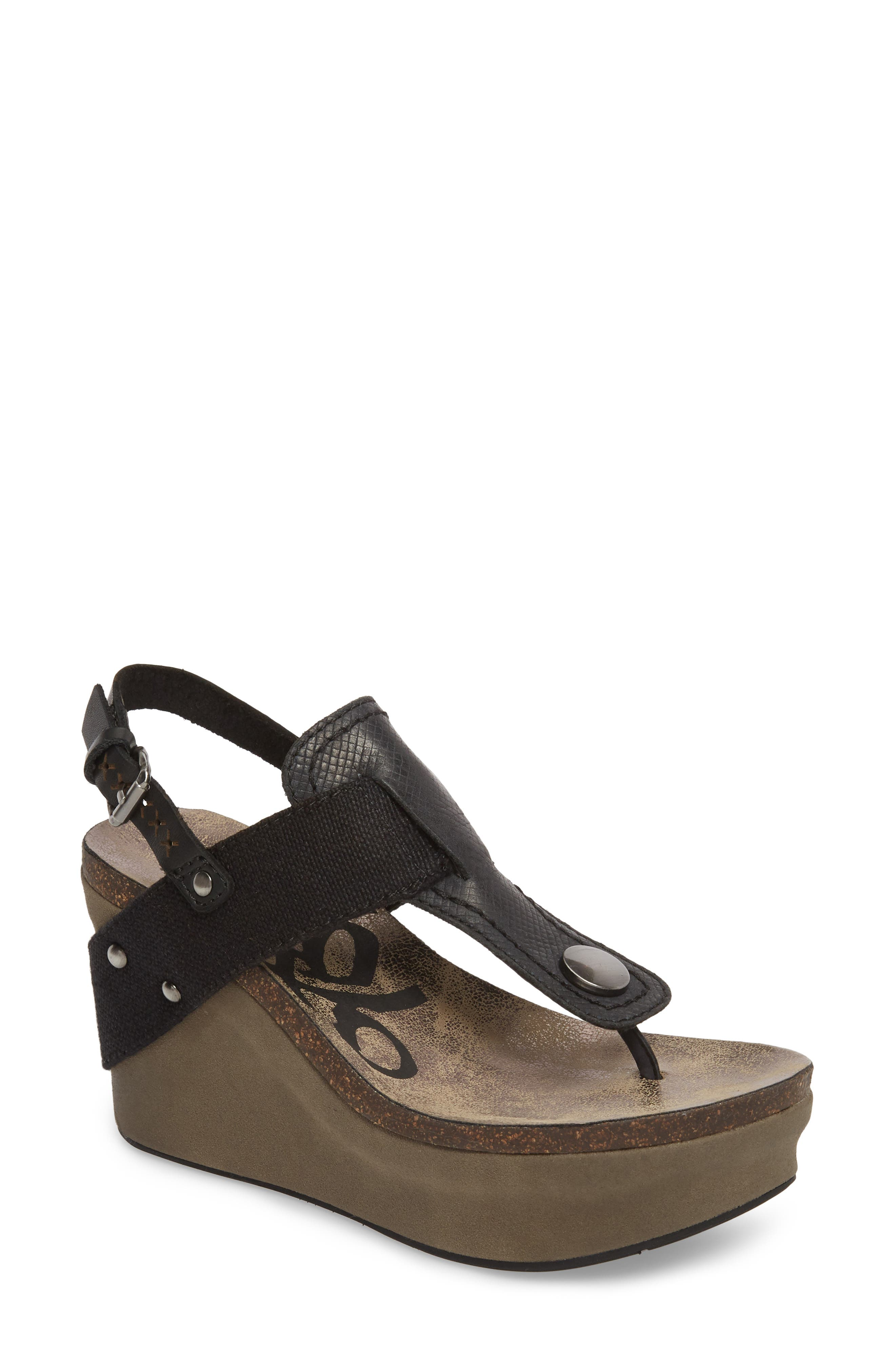 Joyride Wedge Sandal,                             Main thumbnail 1, color,                             Black Leather