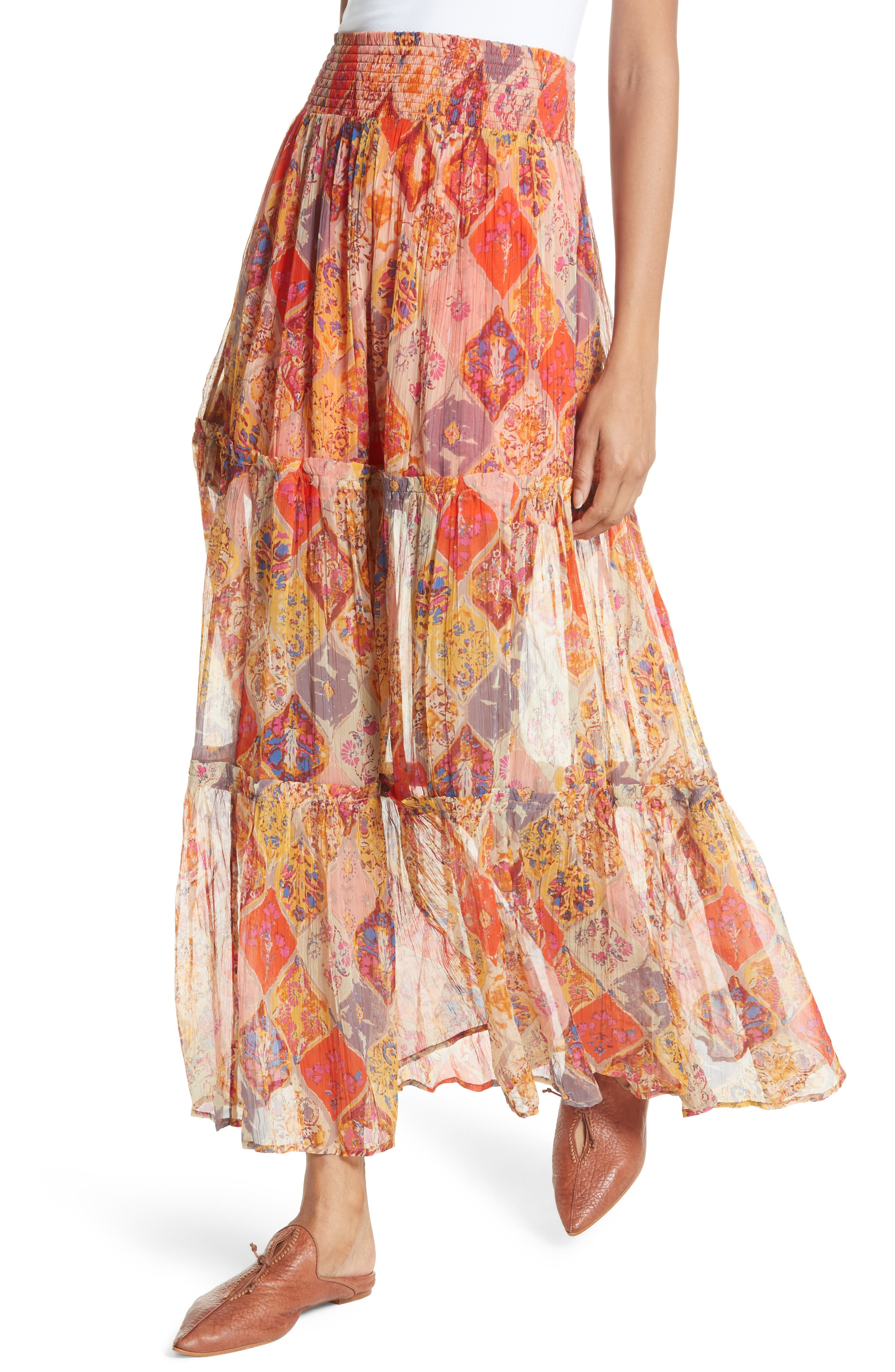 The Great Escape Print Maxi Skirt,                             Alternate thumbnail 4, color,                             Orange