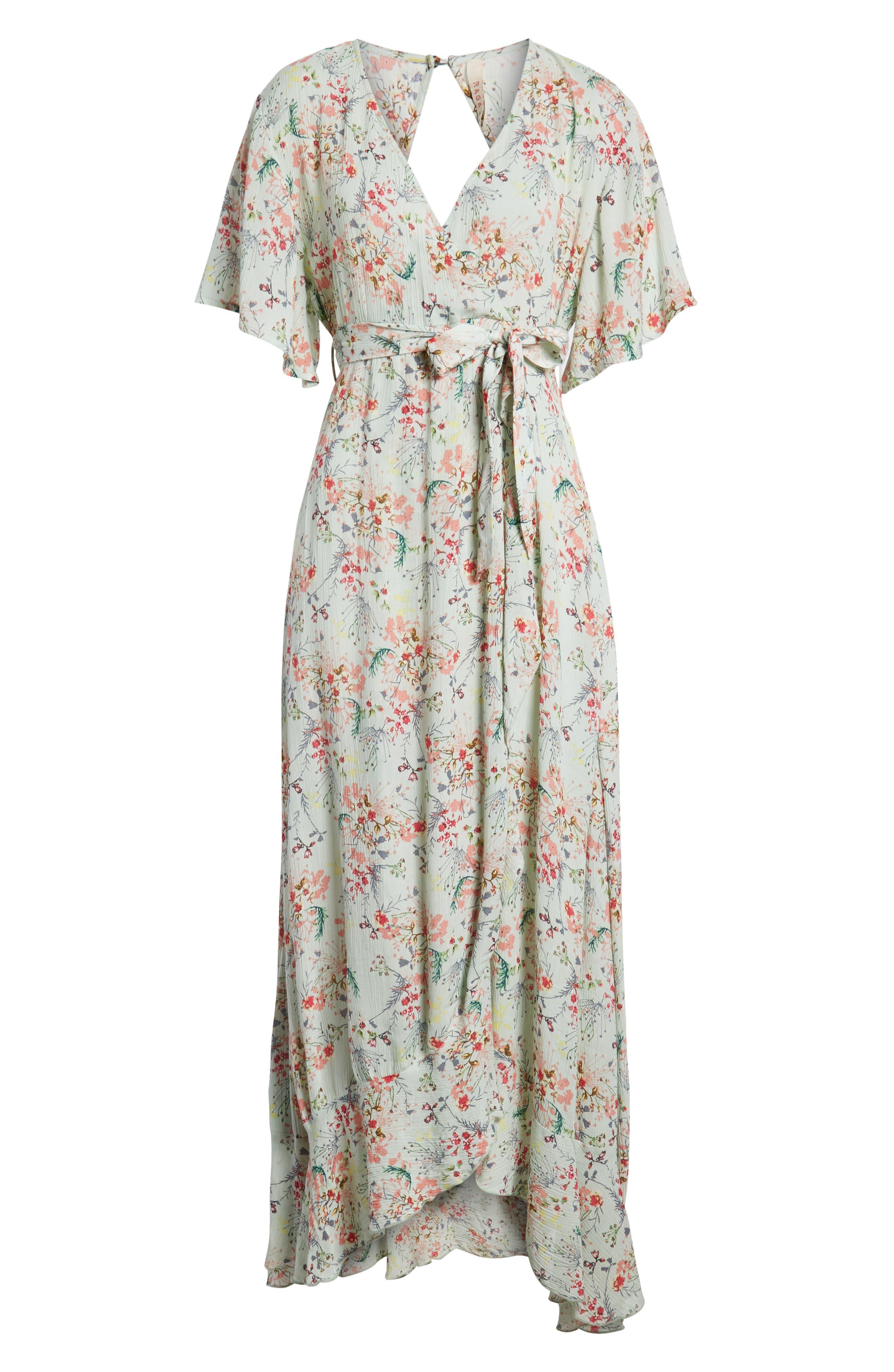 Secret Escape Floral Faux Wrap Maxi Dress,                             Alternate thumbnail 8, color,                             Sage