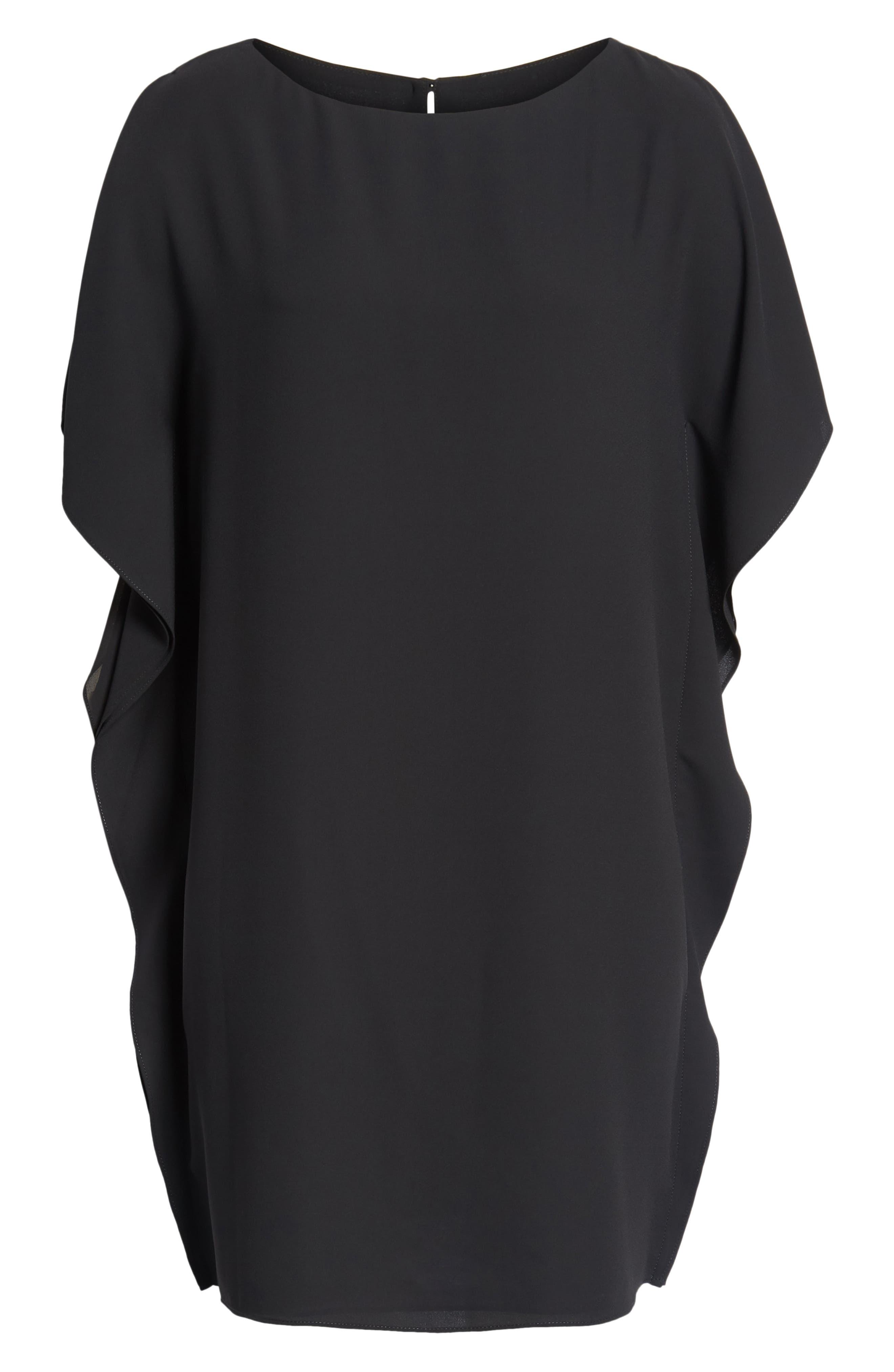 Flutter Sleeve Dress,                             Alternate thumbnail 7, color,                             Black