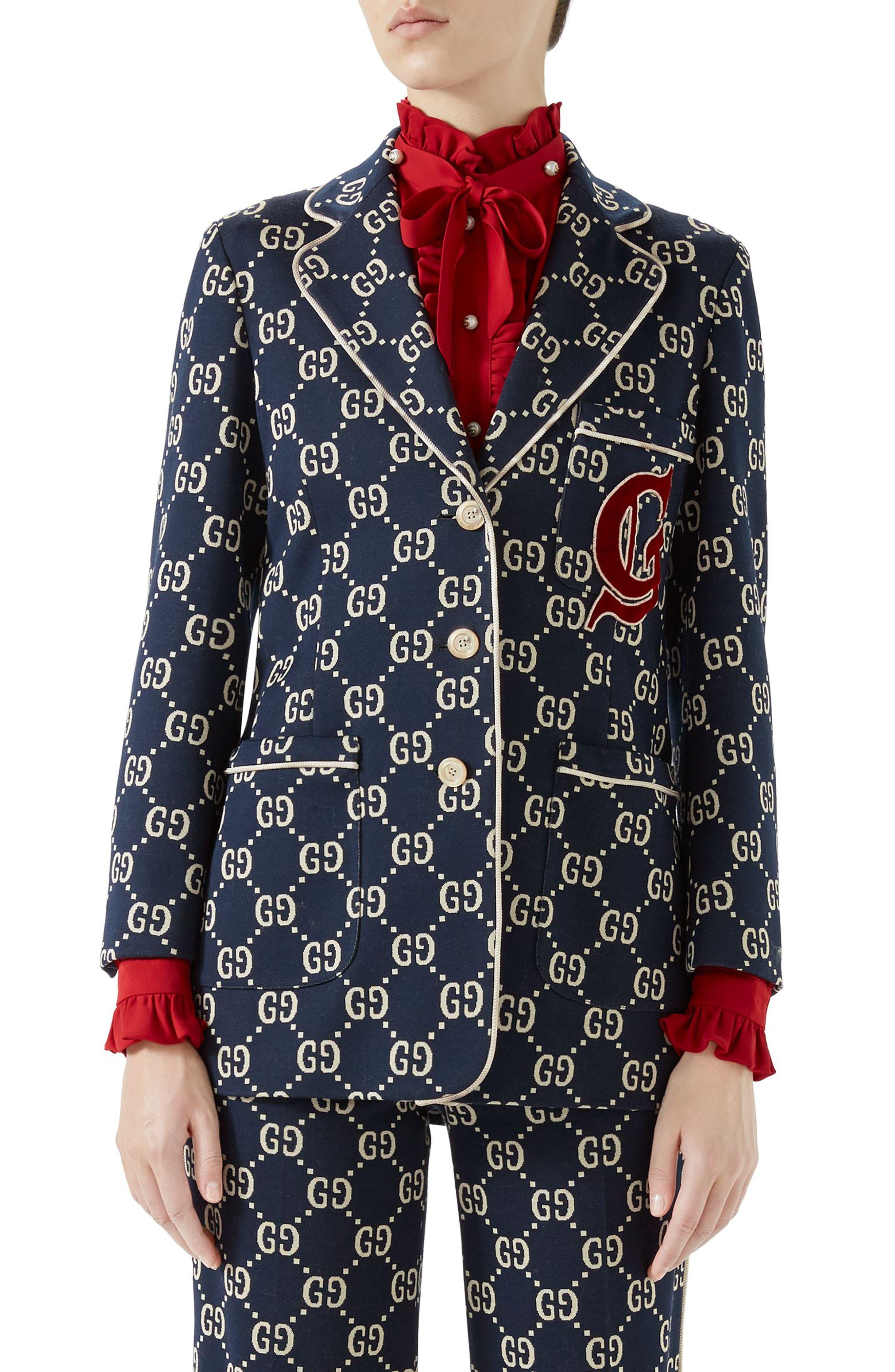 GG Embroidered Jersey Blazer,                         Main,                         color, Caspian/ Multicolor
