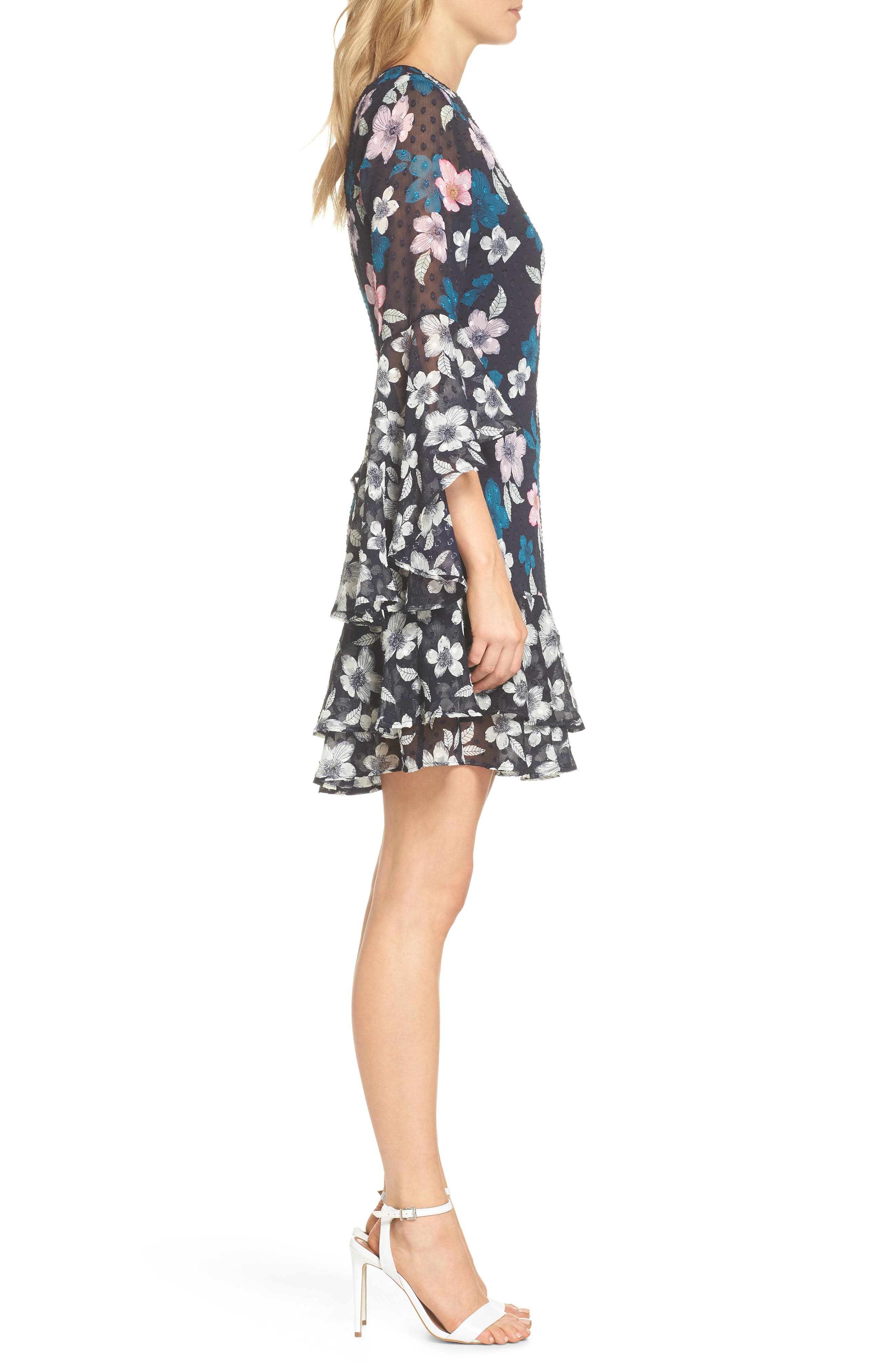Flounce Bell Sleeve Floral Fil Coupé Chiffon Shift Dress,                             Alternate thumbnail 3, color,                             Navy