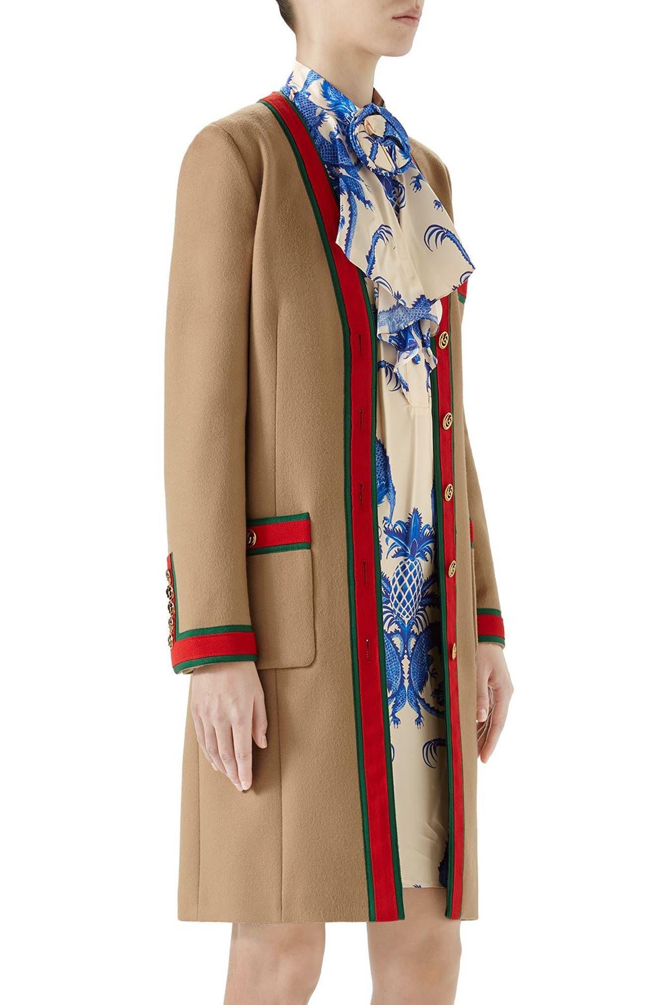Wool Stripe Trim Coat,                             Alternate thumbnail 3, color,                             Camel