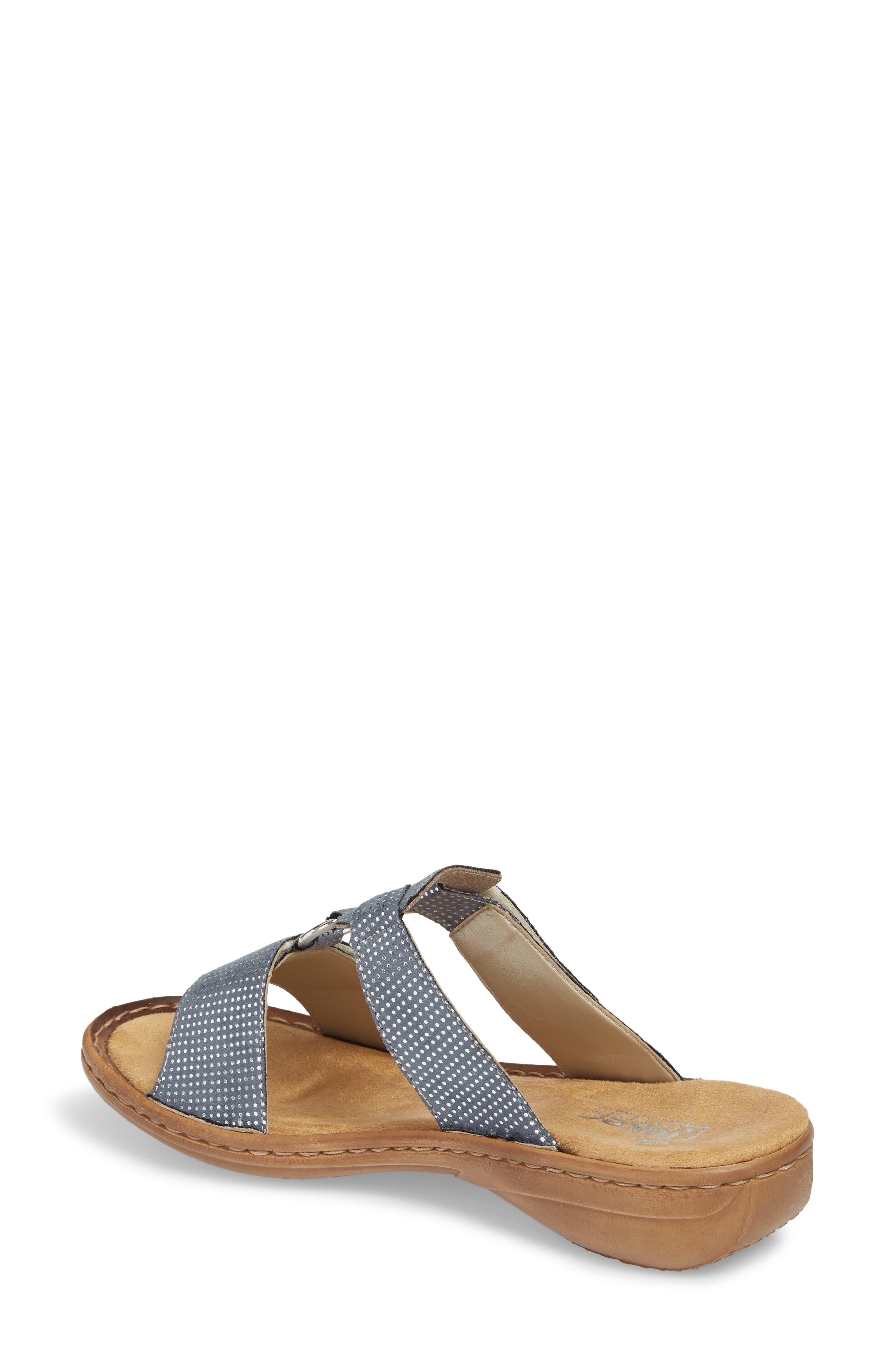Regina P9 Slide Sandal,                             Alternate thumbnail 2, color,                             White Denim Fabric