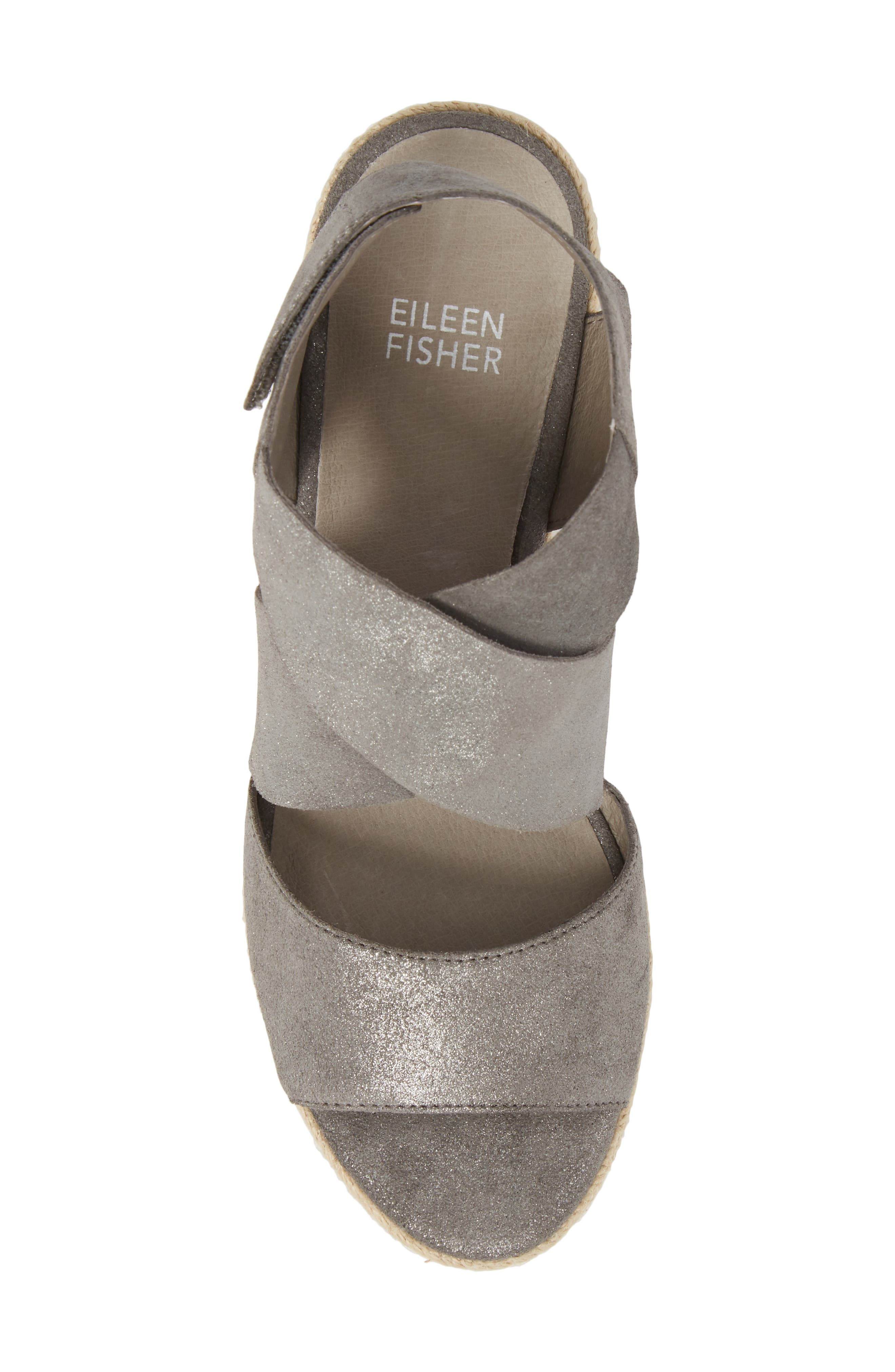 'Willow' Espadrille Wedge Sandal,                             Alternate thumbnail 5, color,                             Pewter Metallic Suede