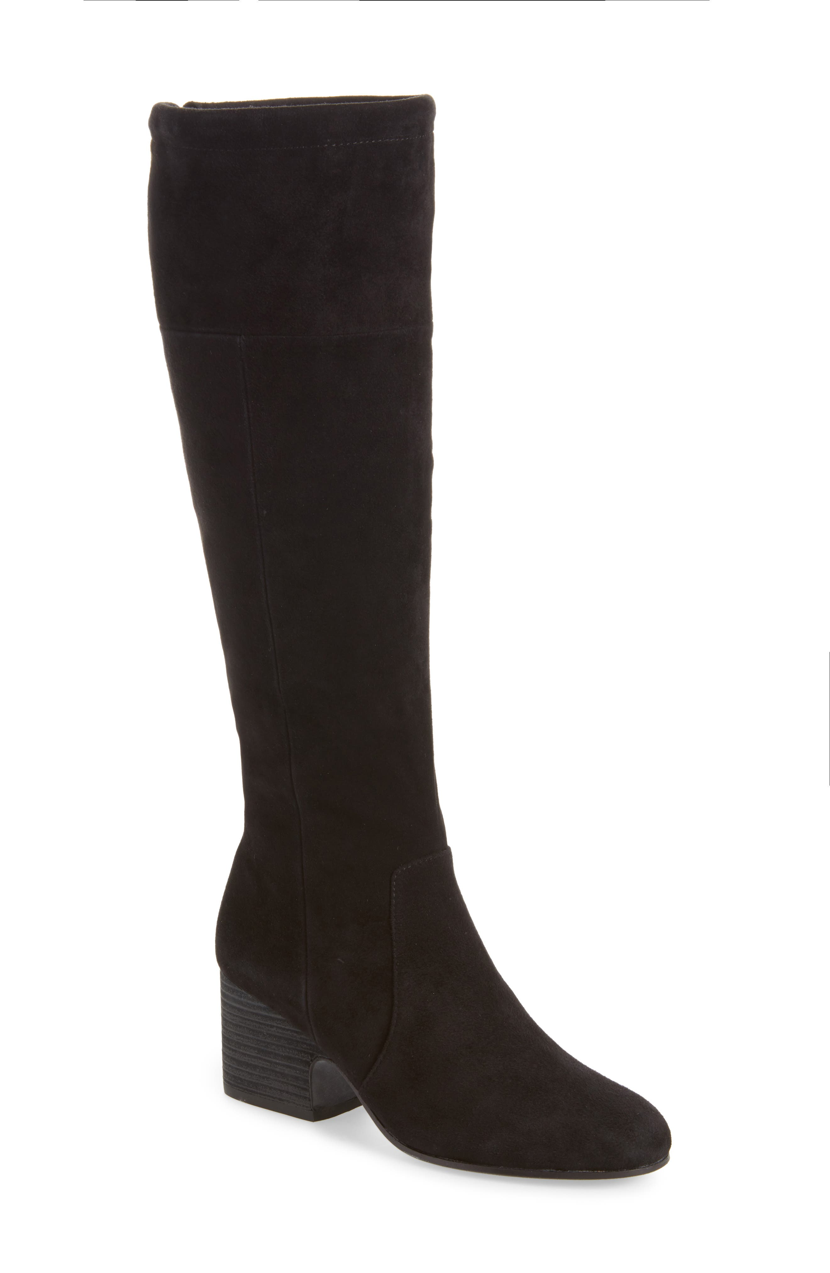 Knee High Boot,                             Main thumbnail 1, color,                             Black Suede