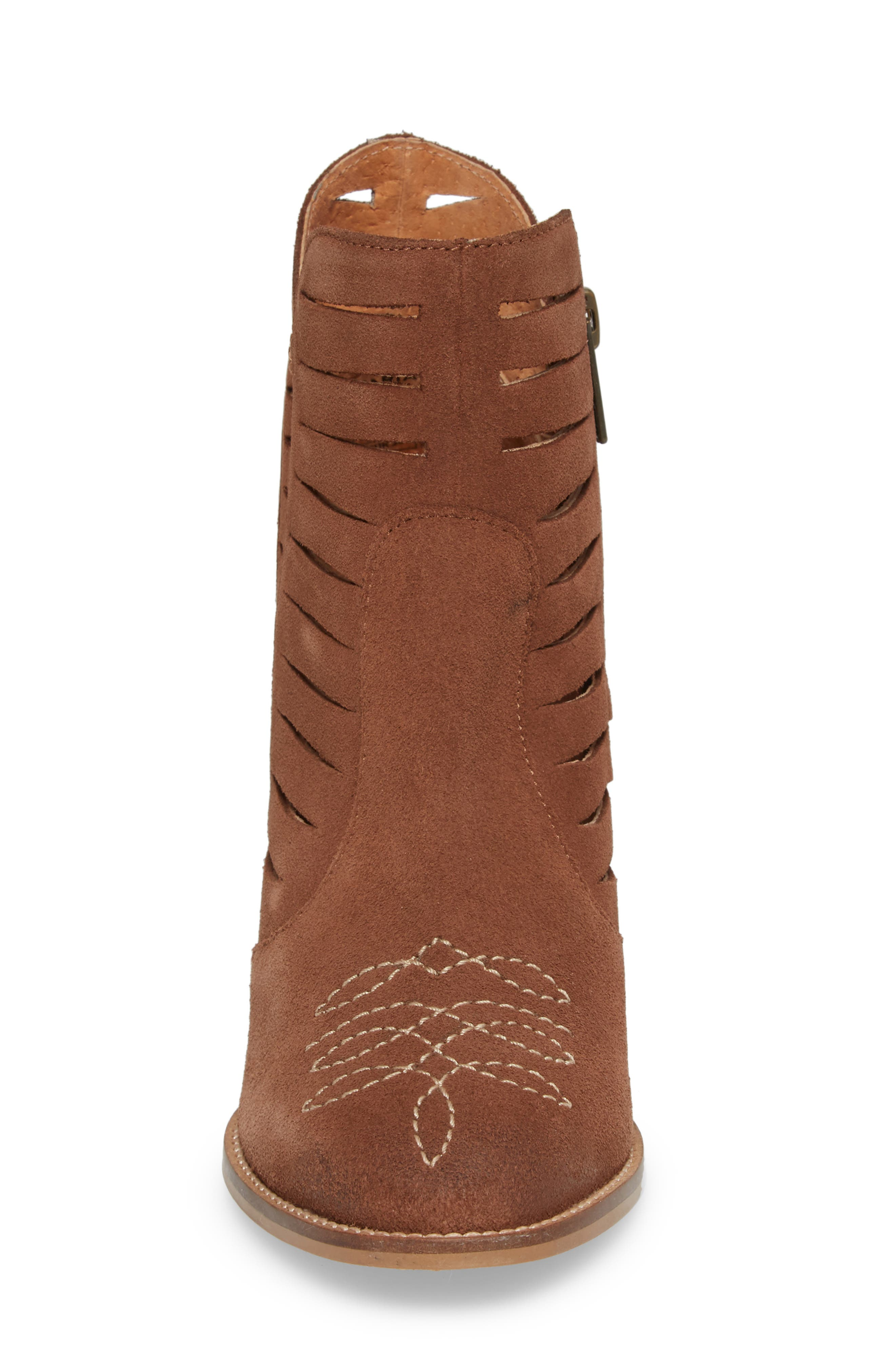 Adriana Western Bootie,                             Alternate thumbnail 4, color,                             Whiskey Suede