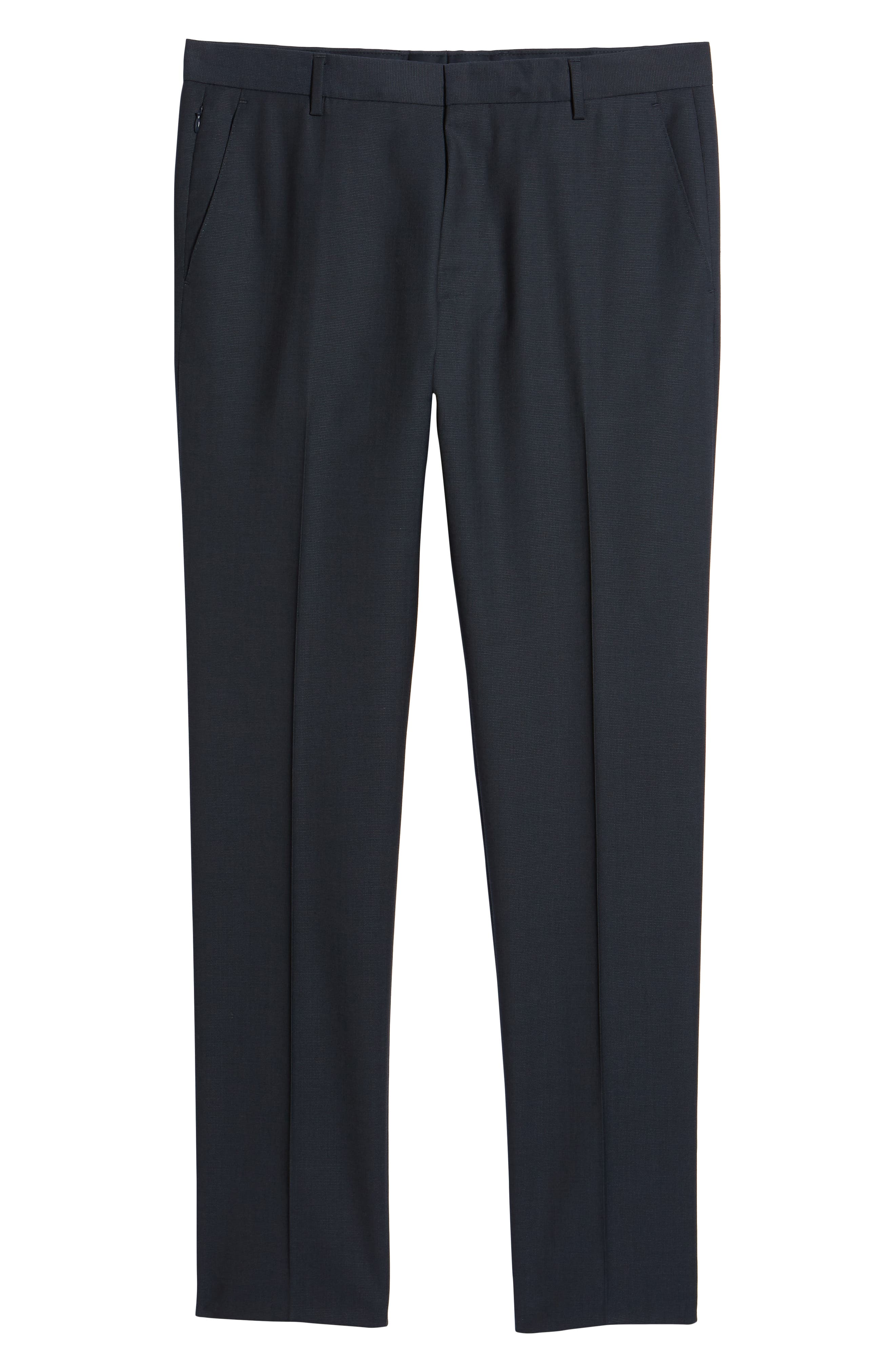 Barnes Flat Front Solid Wool Trousers,                             Alternate thumbnail 6, color,                             Navy