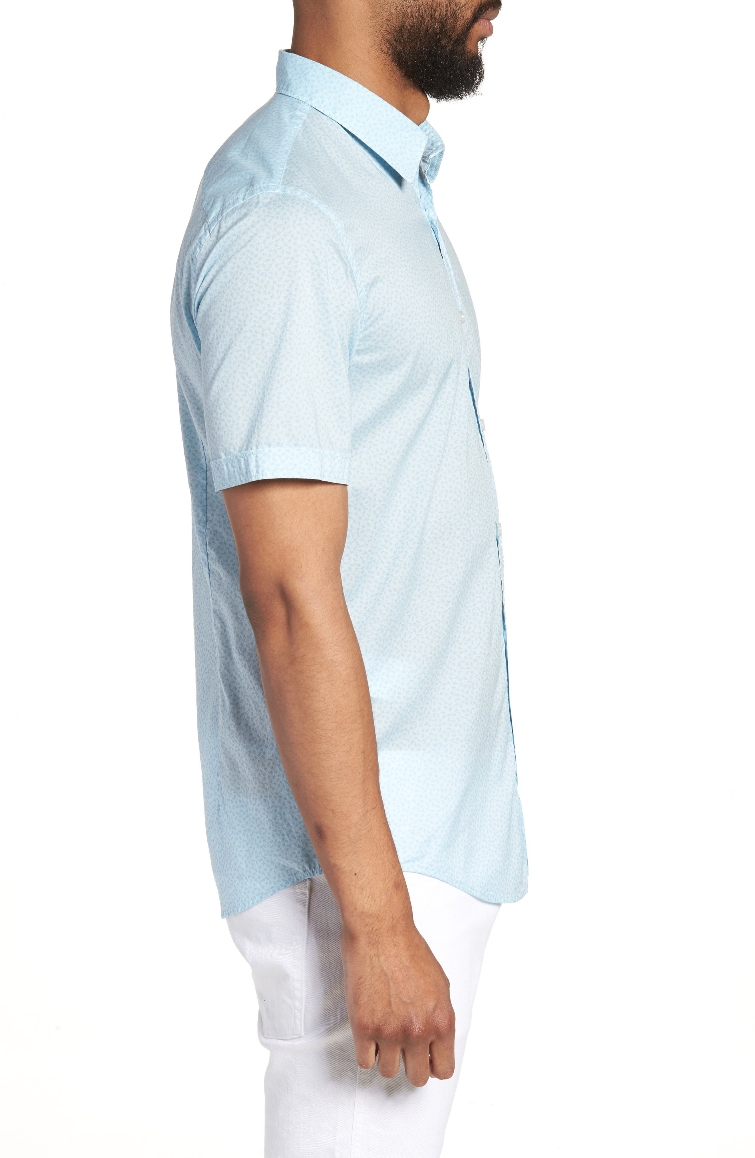 Ronn Slim Fit Flower Print Sport Shirt,                             Alternate thumbnail 5, color,                             Blue