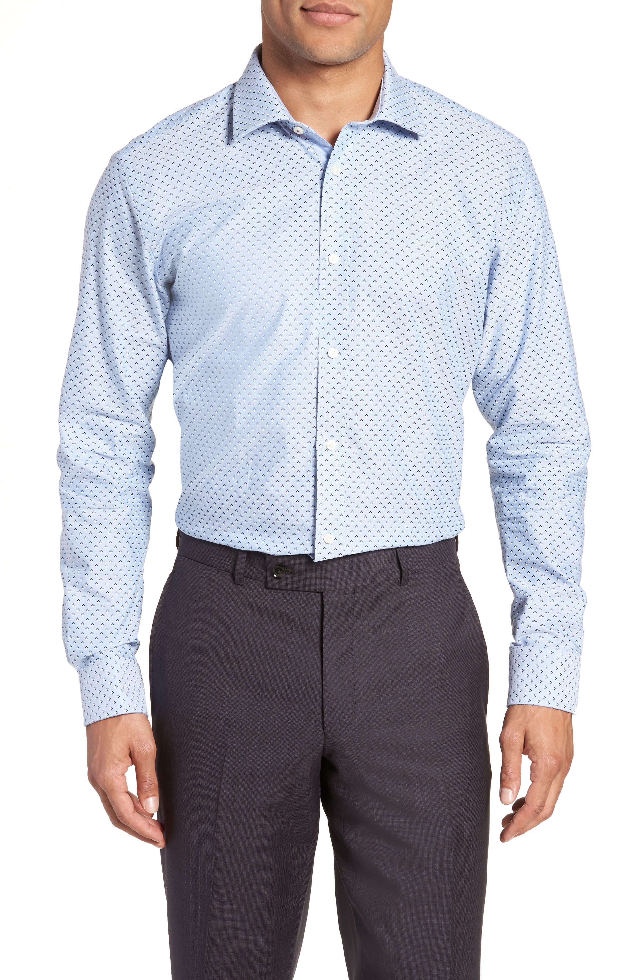 Forestr Trim Fit Geometric Dress Shirt,                             Main thumbnail 1, color,                             Blue