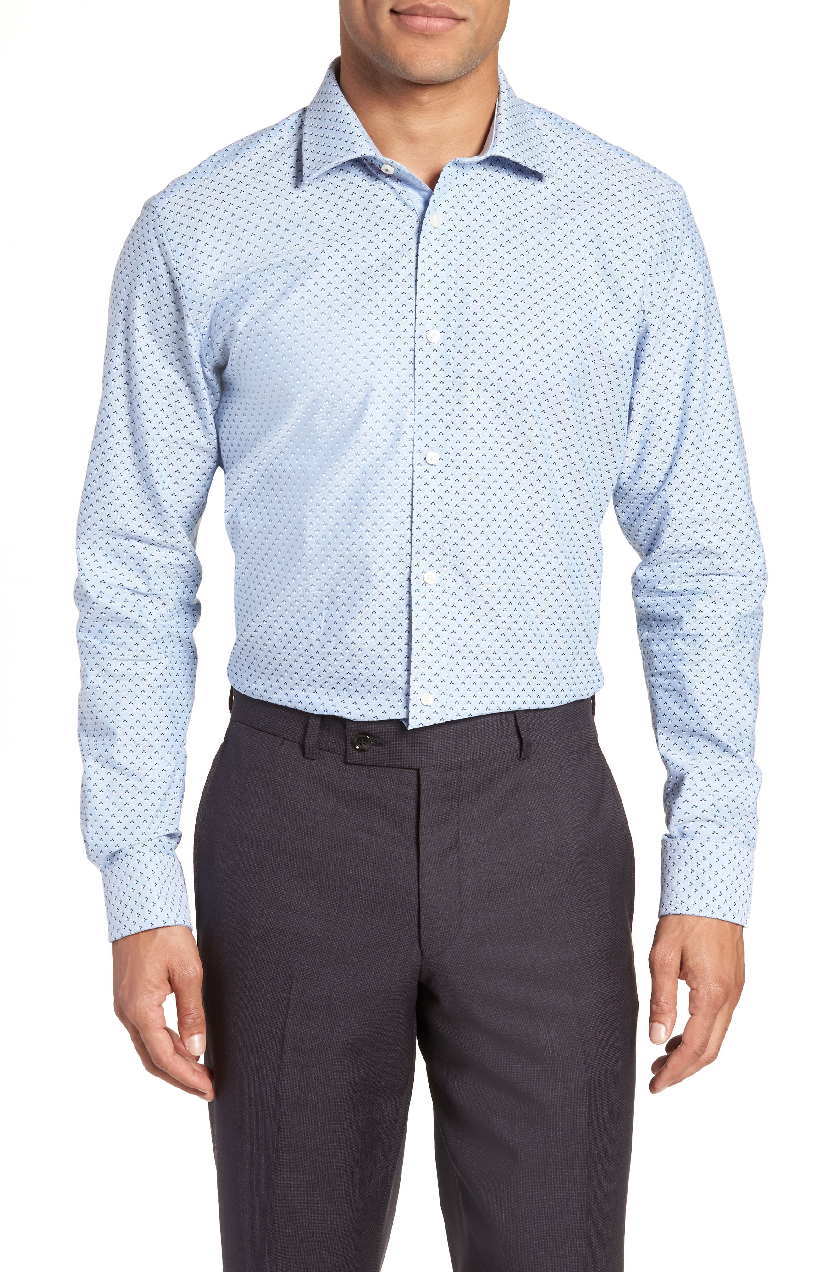 Forestr Trim Fit Geometric Dress Shirt,                         Main,                         color, Blue