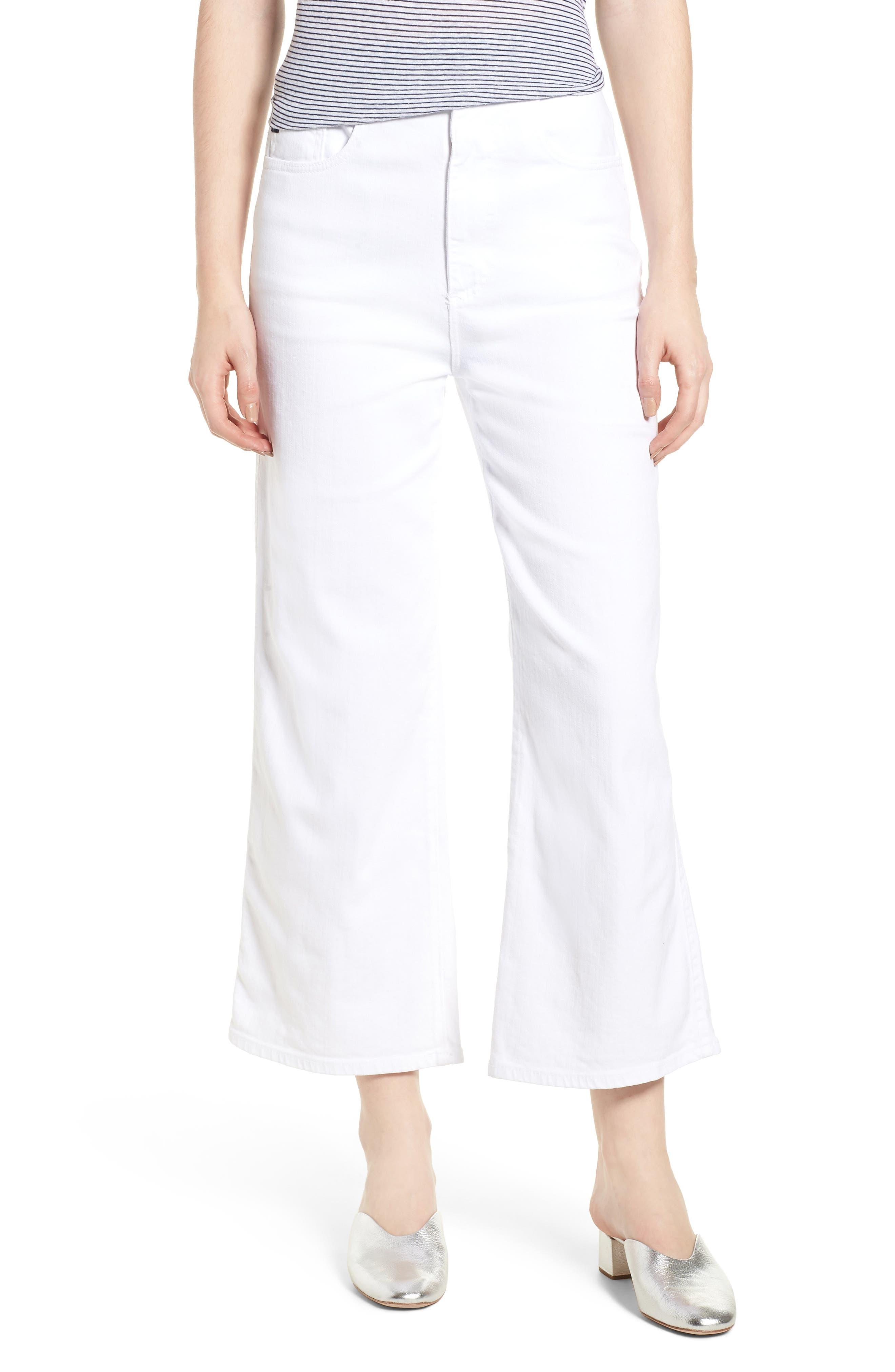 Etta High Waist Crop Wide Leg Jeans,                         Main,                         color, White