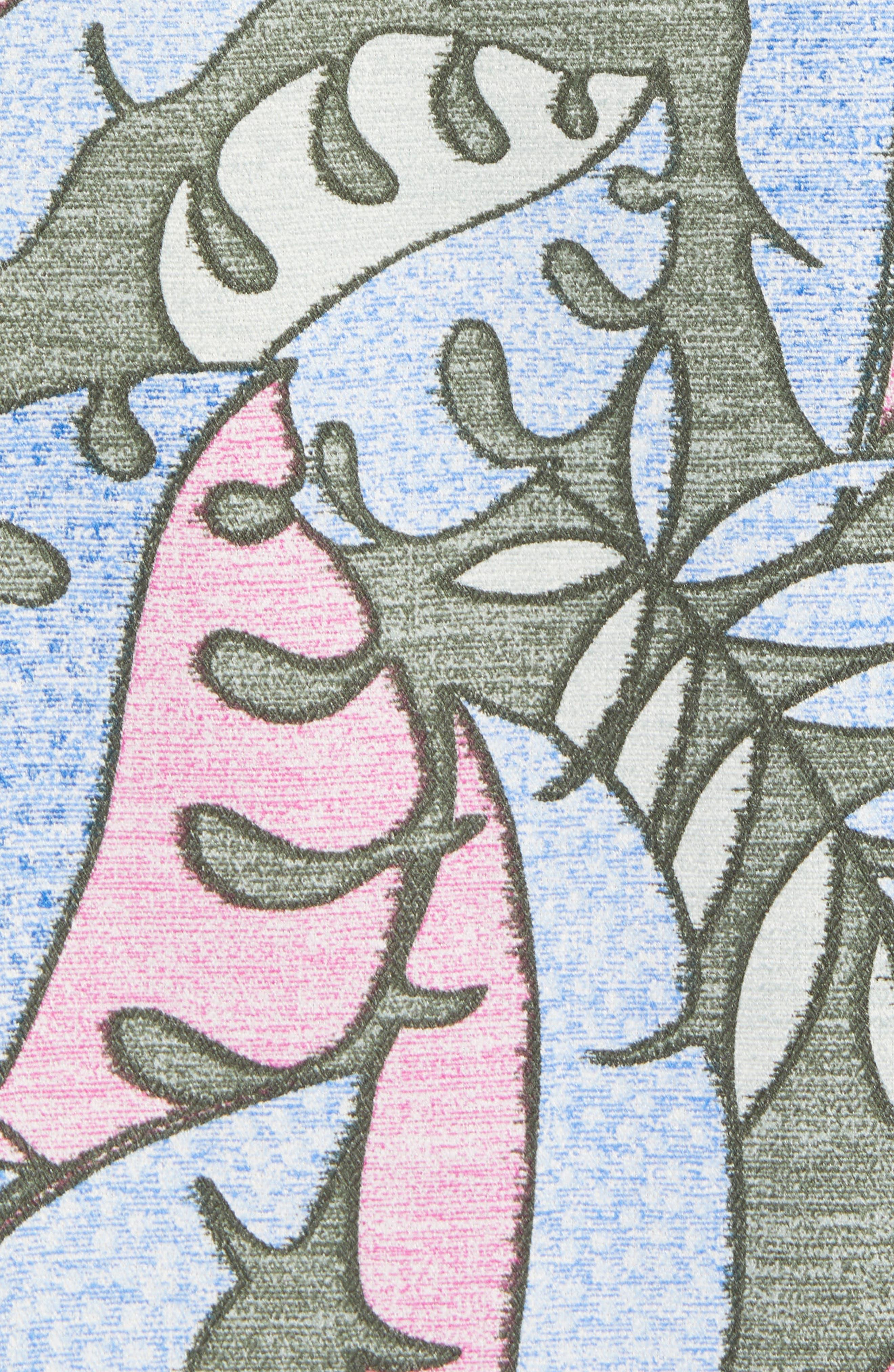 Mateo Fronds Silk Blend Camp Shirt,                             Alternate thumbnail 5, color,                             Grand Canal