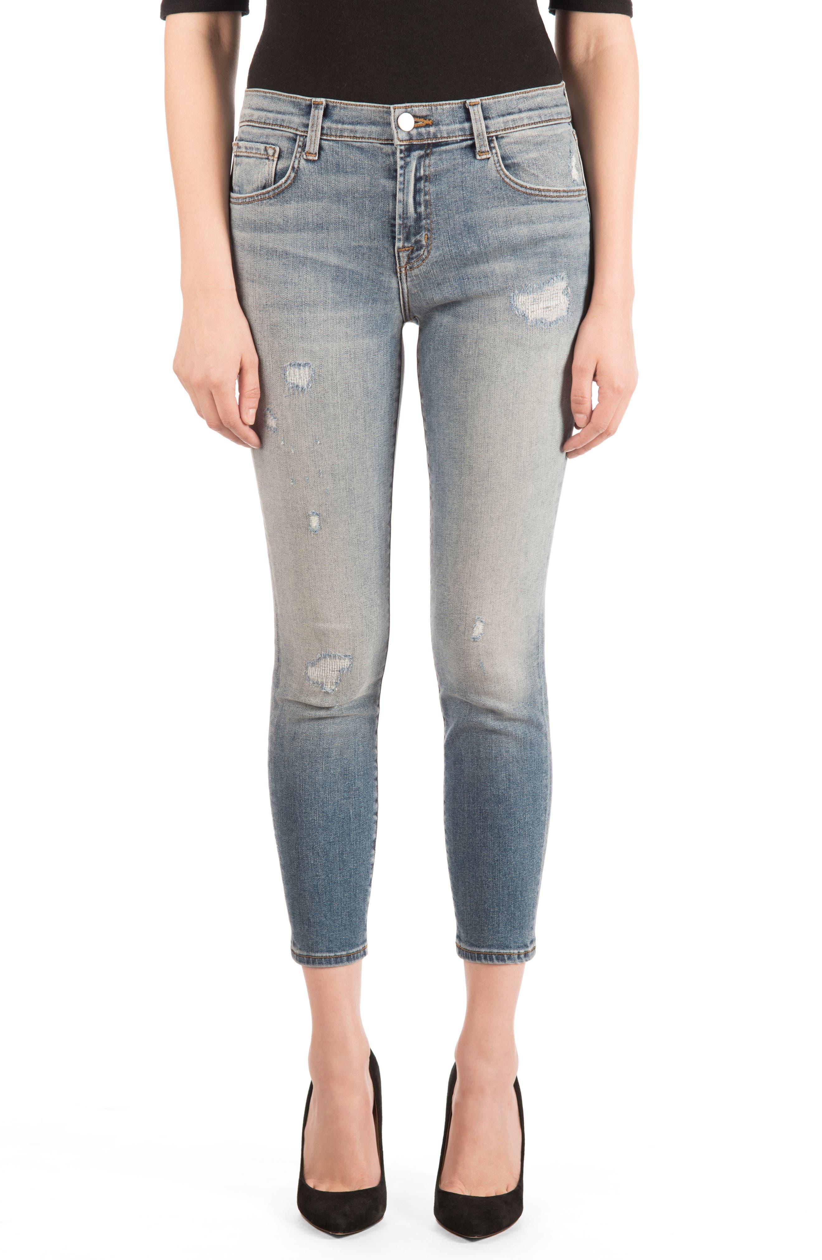 835 Distressed Capri Skinny Jeans,                             Main thumbnail 1, color,                             Nolita