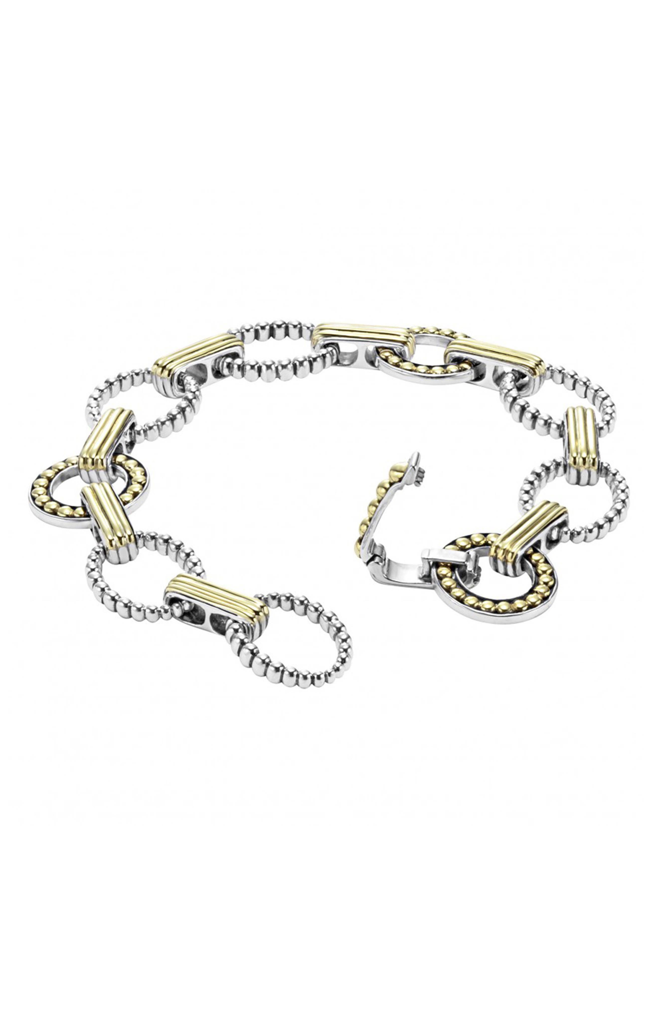 'Enso' Two-Tone Link Bracelet,                             Alternate thumbnail 2, color,                             Silver/ Gold