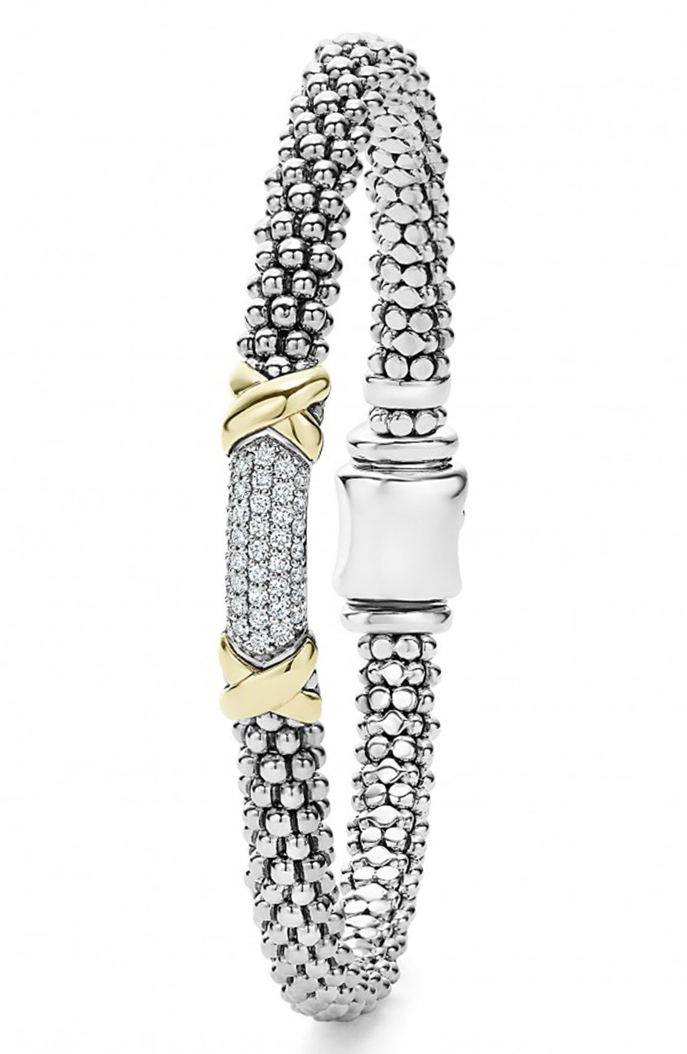 'Diamond Lux' Diamond Rope Bracelet,                             Alternate thumbnail 2, color,                             Silver/ Gold