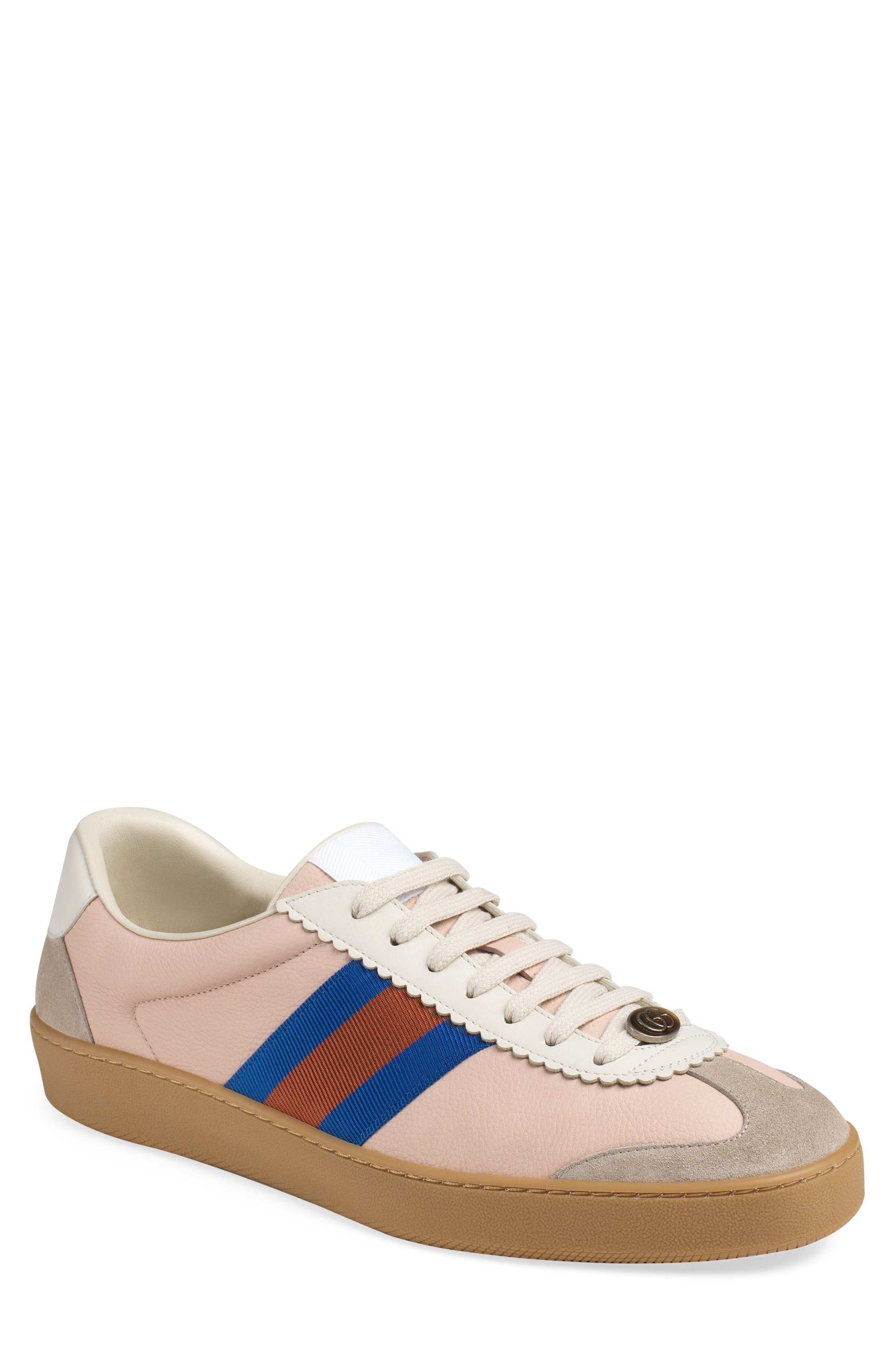 Gucci Web-Striped Leather & Suede Sneakers - Pink Size 6 M In Pink Multi