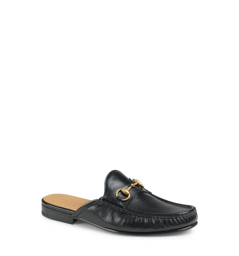 920f1804df4 Gucci Open Roos Horsebit Leather Backless Loafers - Black