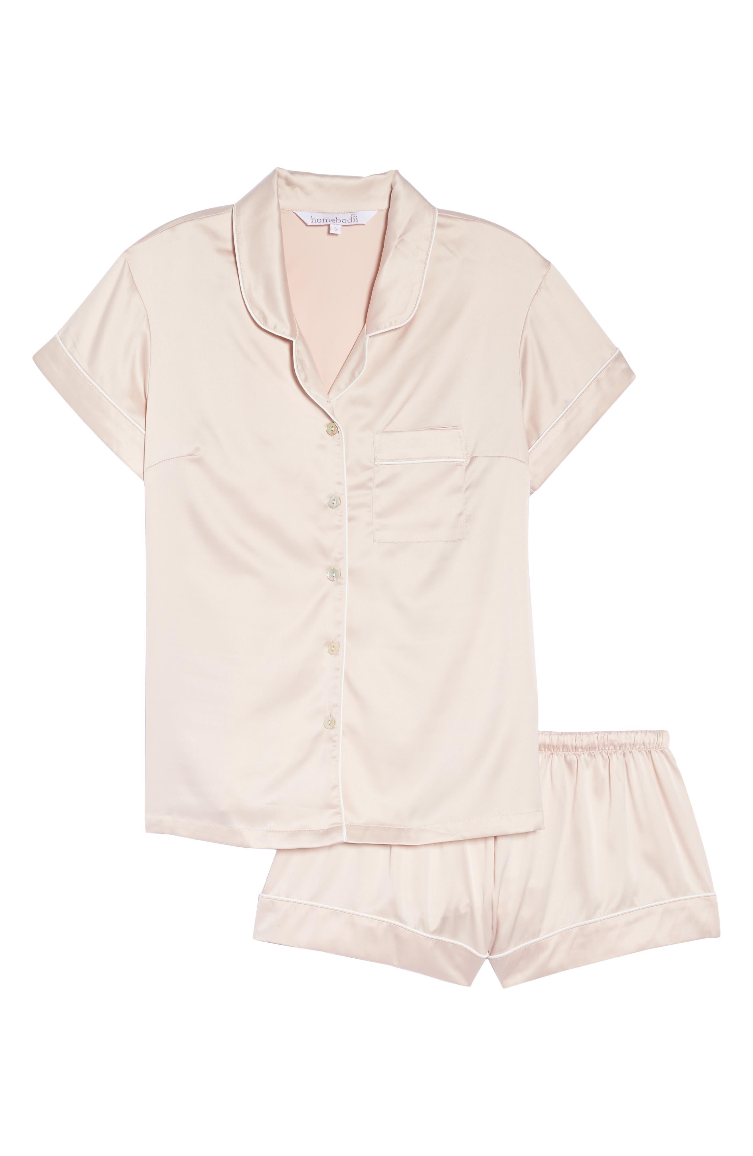 Piped Short Pajamas,                             Alternate thumbnail 4, color,                             Pink