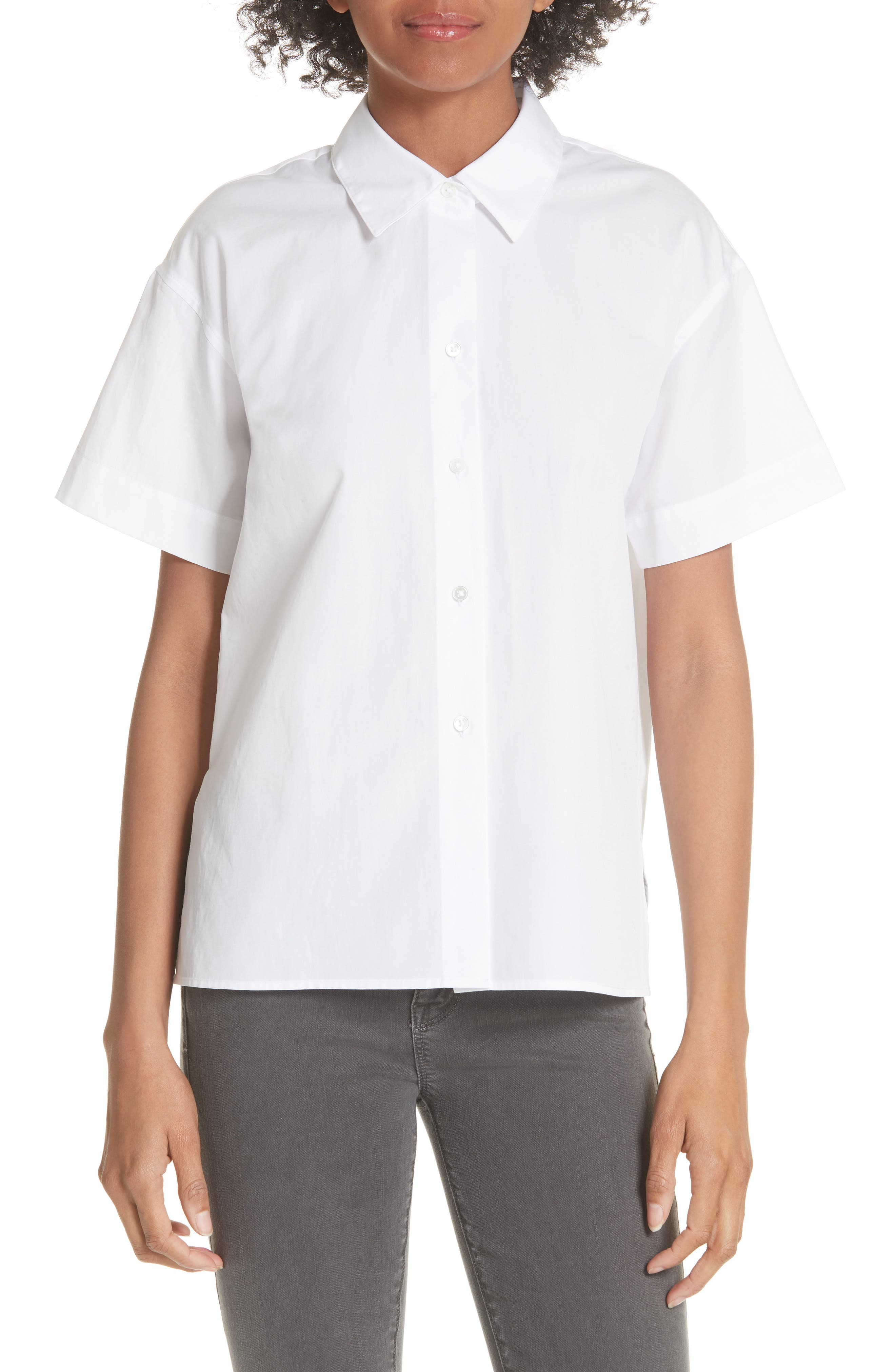 Short Sleeve Cotton Shirt,                             Main thumbnail 1, color,                             Optic White