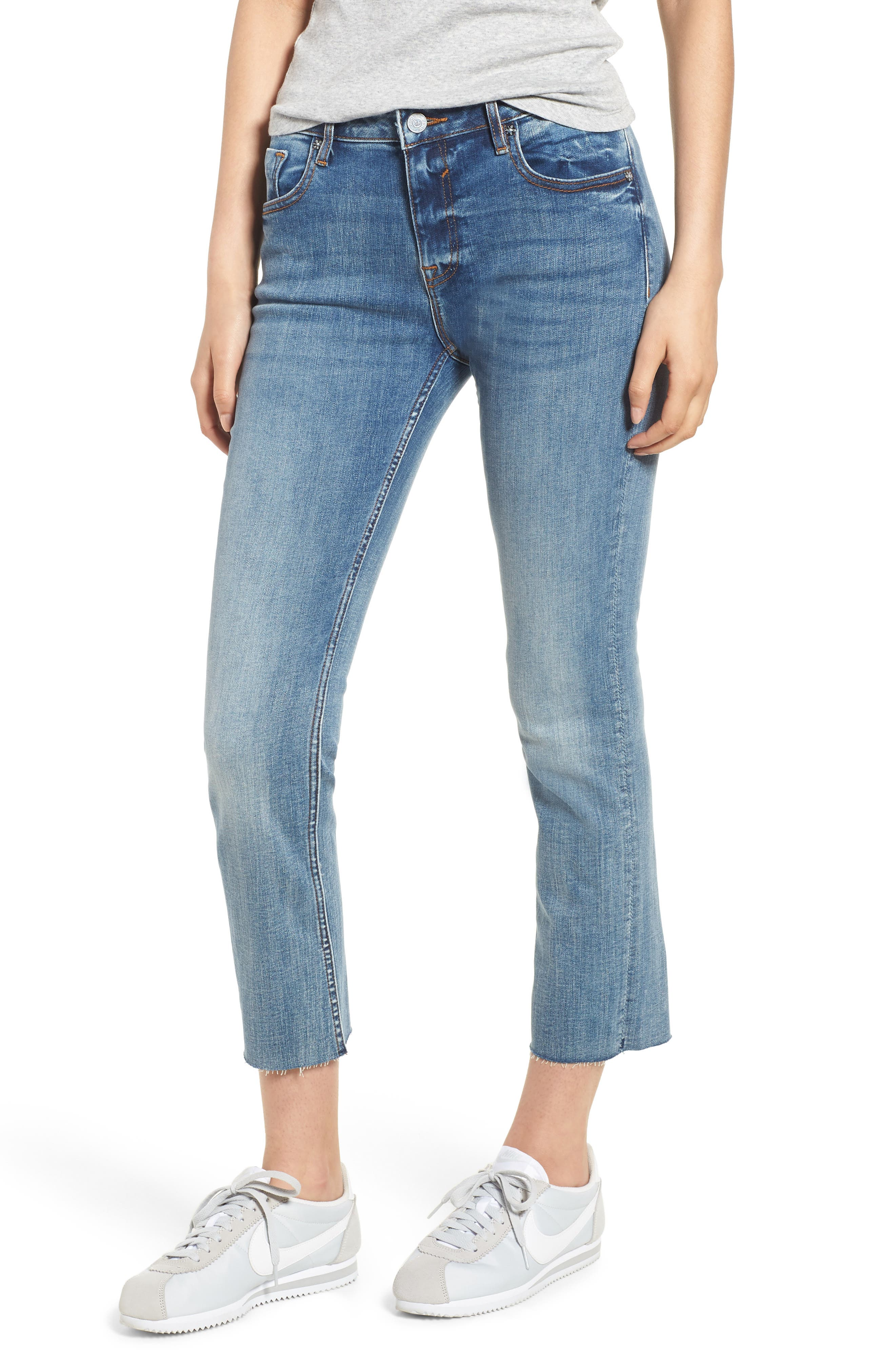 Jagger Crop Straight Leg Jeans,                         Main,                         color, Med Wash