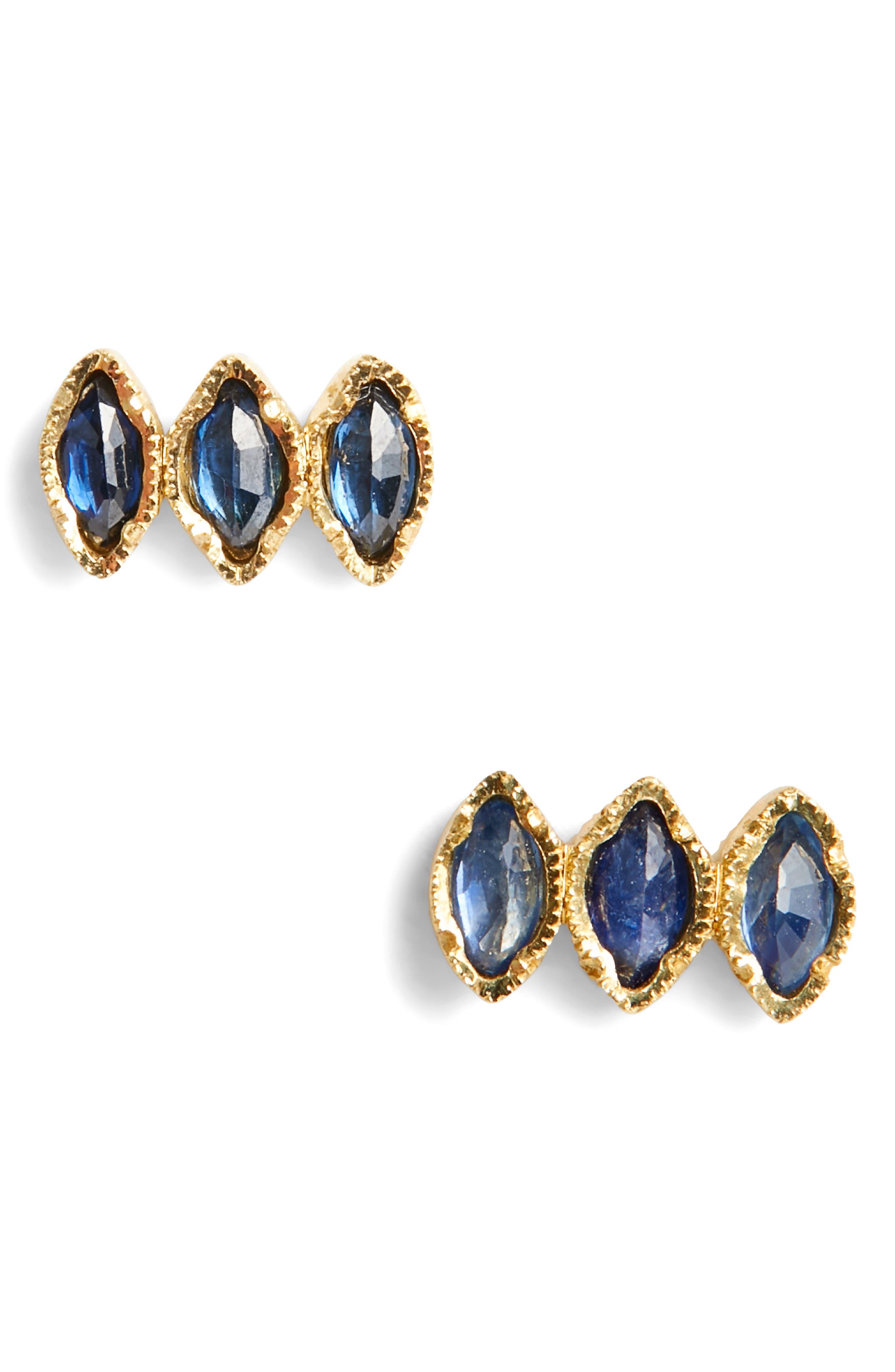 Brooke Gregson Triple Sapphire Marquise Stud Earrings