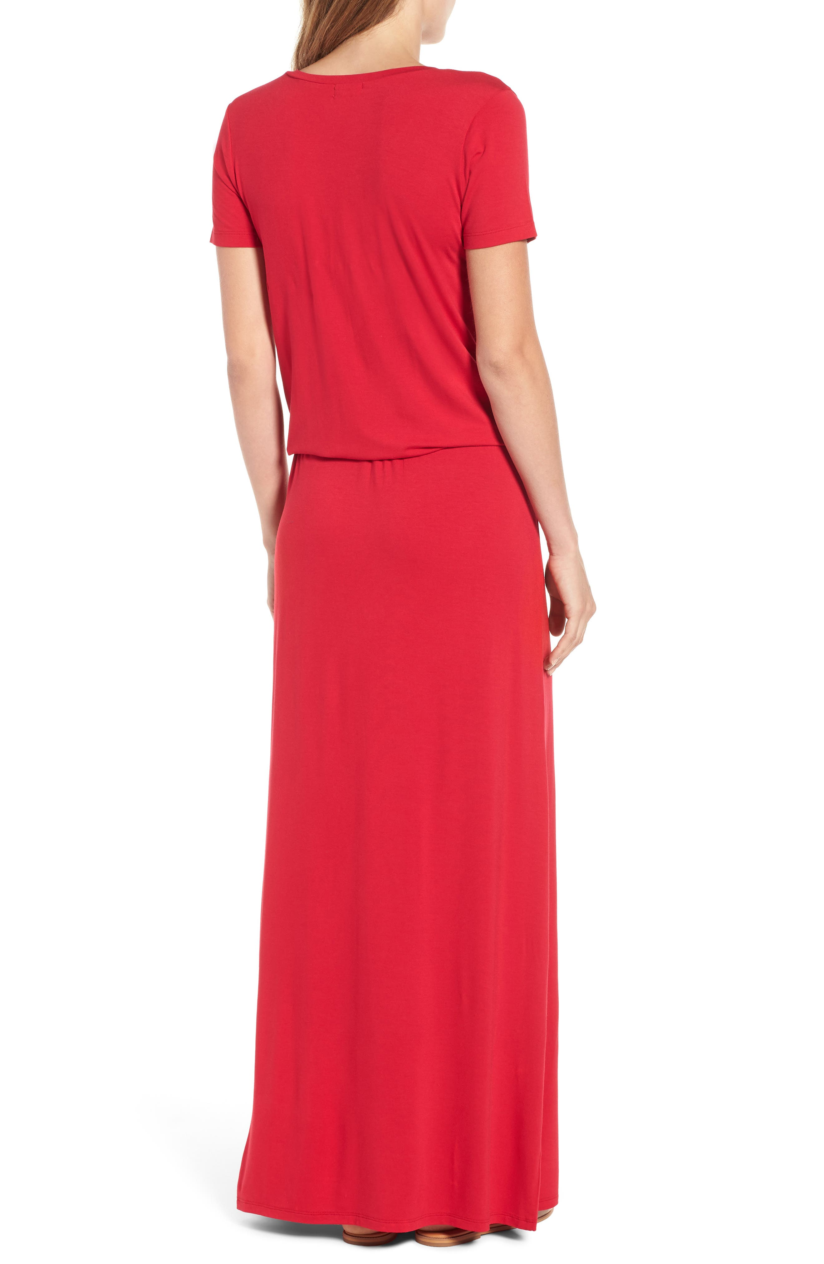 Drawstring V-Neck Jersey Maxi Dress,                             Alternate thumbnail 2, color,                             Red Jalapeno