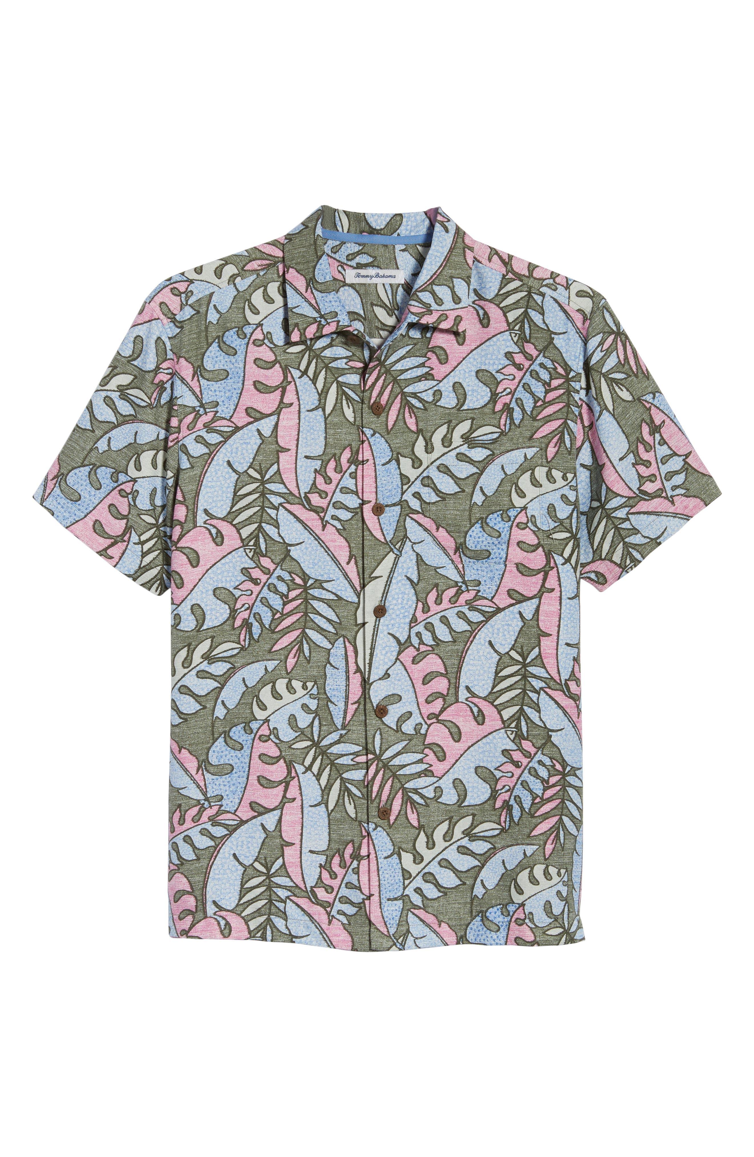 Mateo Fronds Silk Blend Camp Shirt,                             Alternate thumbnail 6, color,                             Grand Canal