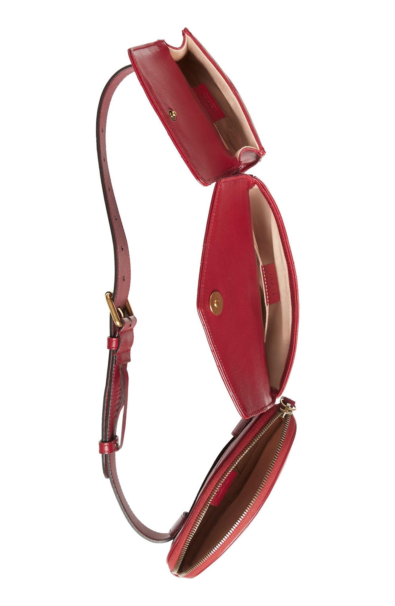 GG Marmont 2.0 Matelassé Triple Pouch Leather Belt Bag,                             Alternate thumbnail 3, color,                             Cerise/ Cerise