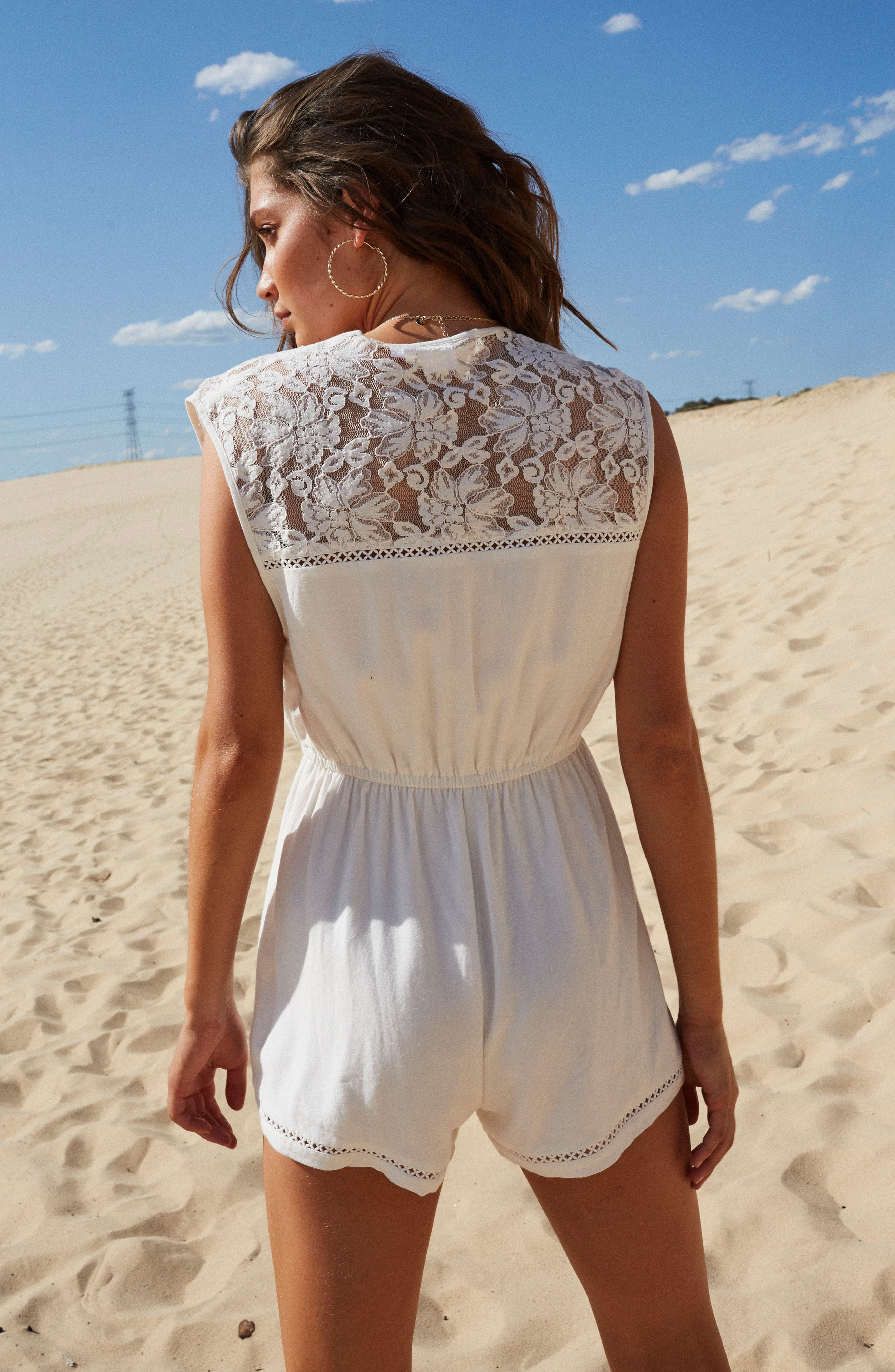 Oceans Away Lace Panel Romper,                             Alternate thumbnail 8, color,