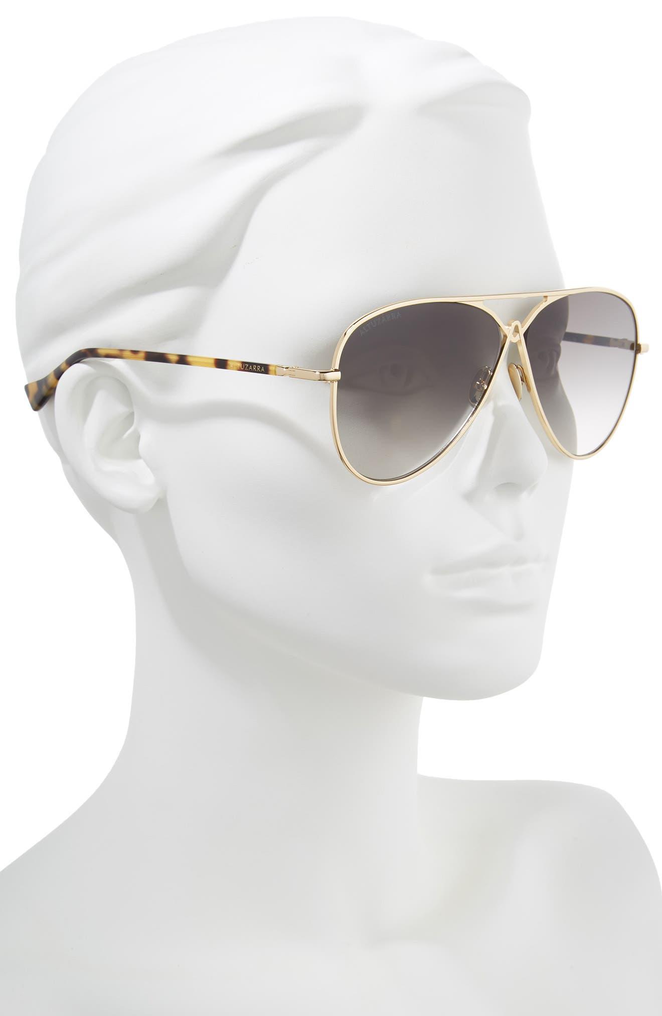 60mm Metal Aviator Sunglasses,                             Alternate thumbnail 2, color,                             Gold