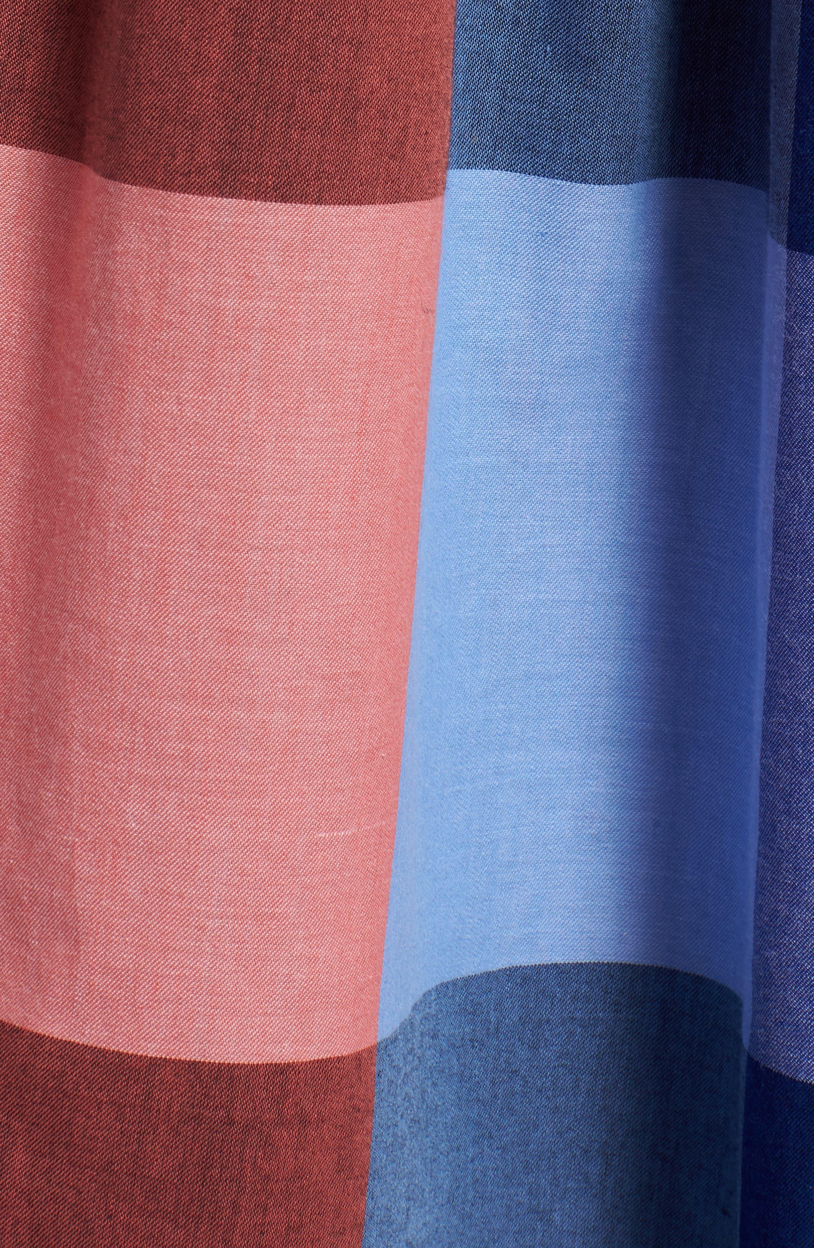 Plaid Cotton Wrap Style Dress,                             Alternate thumbnail 6, color,                             Pink- Blue Plaid