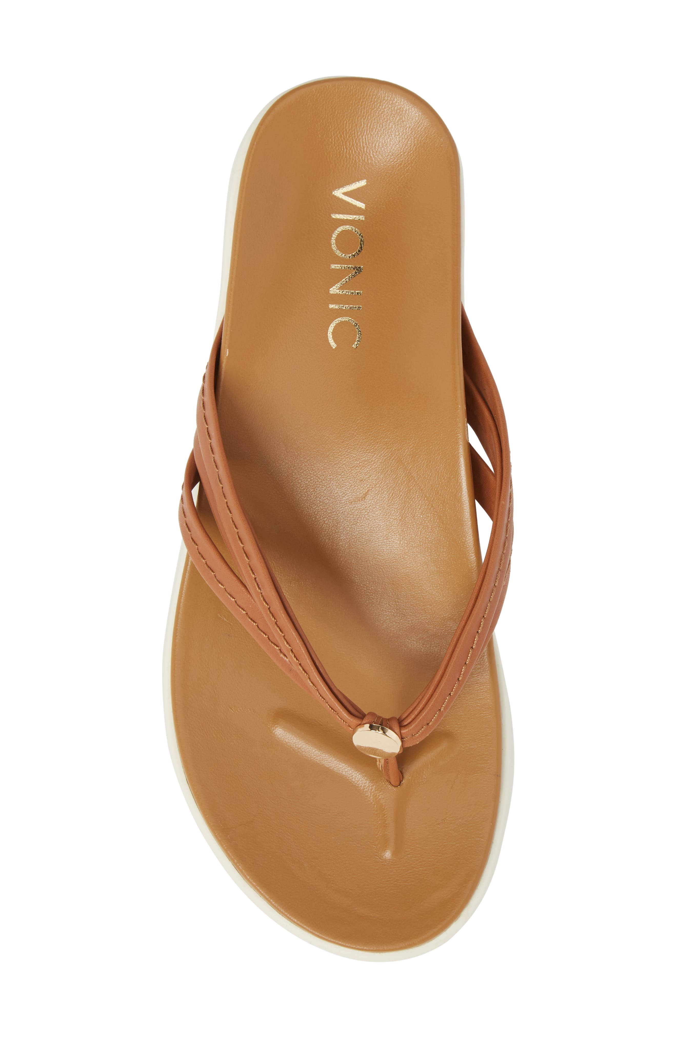 Catalina Flip Flop,                             Alternate thumbnail 4, color,                             Tan Leather