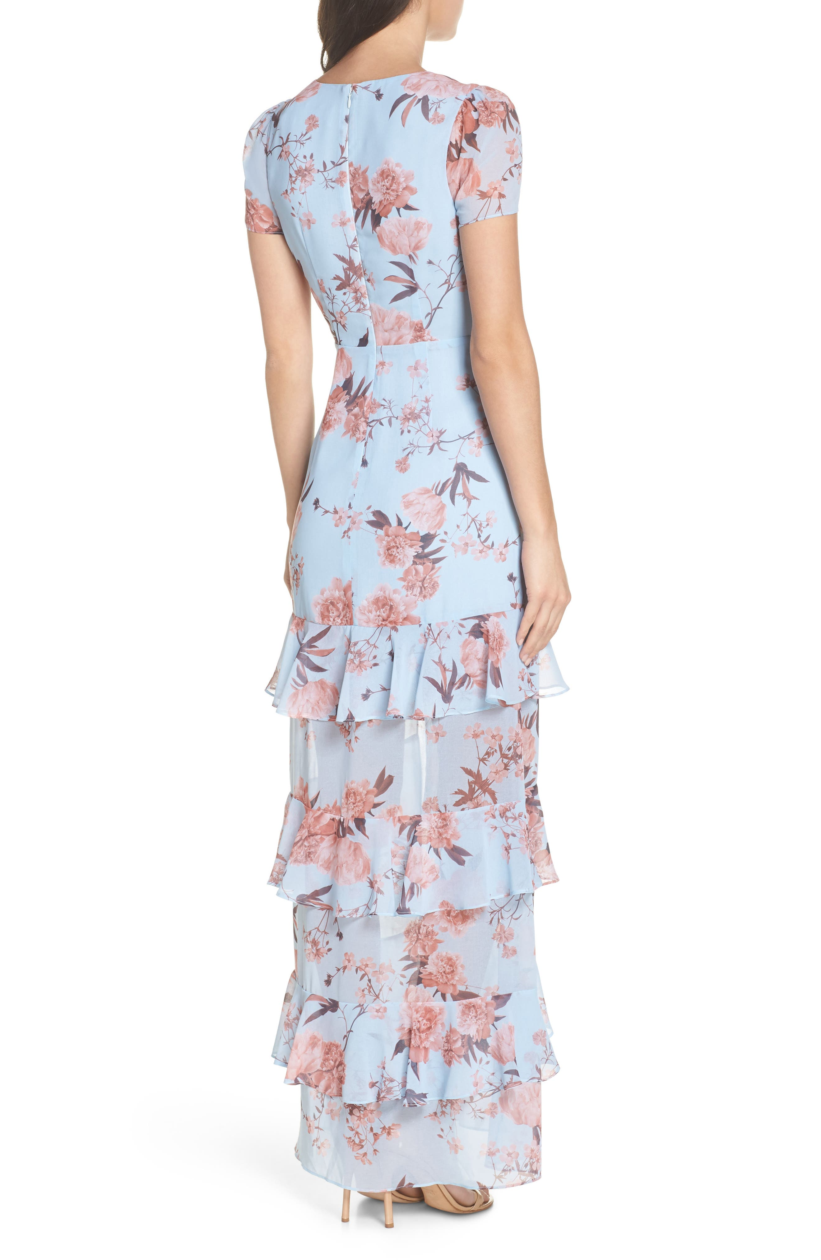 The Pearl Tiered Ruffle Georgette Gown,                             Alternate thumbnail 2, color,                             Sky Blossom Floral