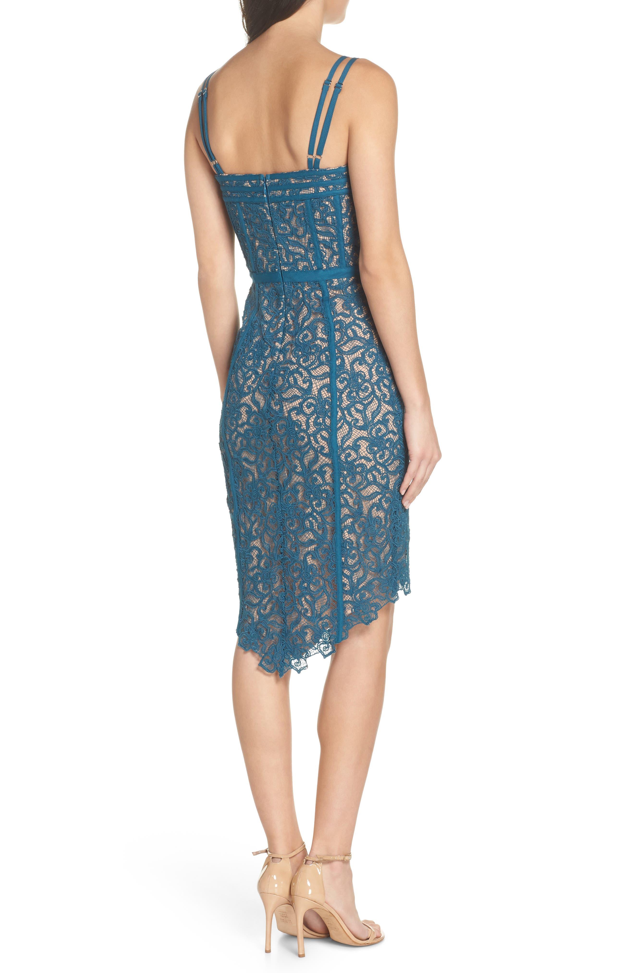 High/Low Hem Lace Cocktail Dress,                             Alternate thumbnail 2, color,                             Teal