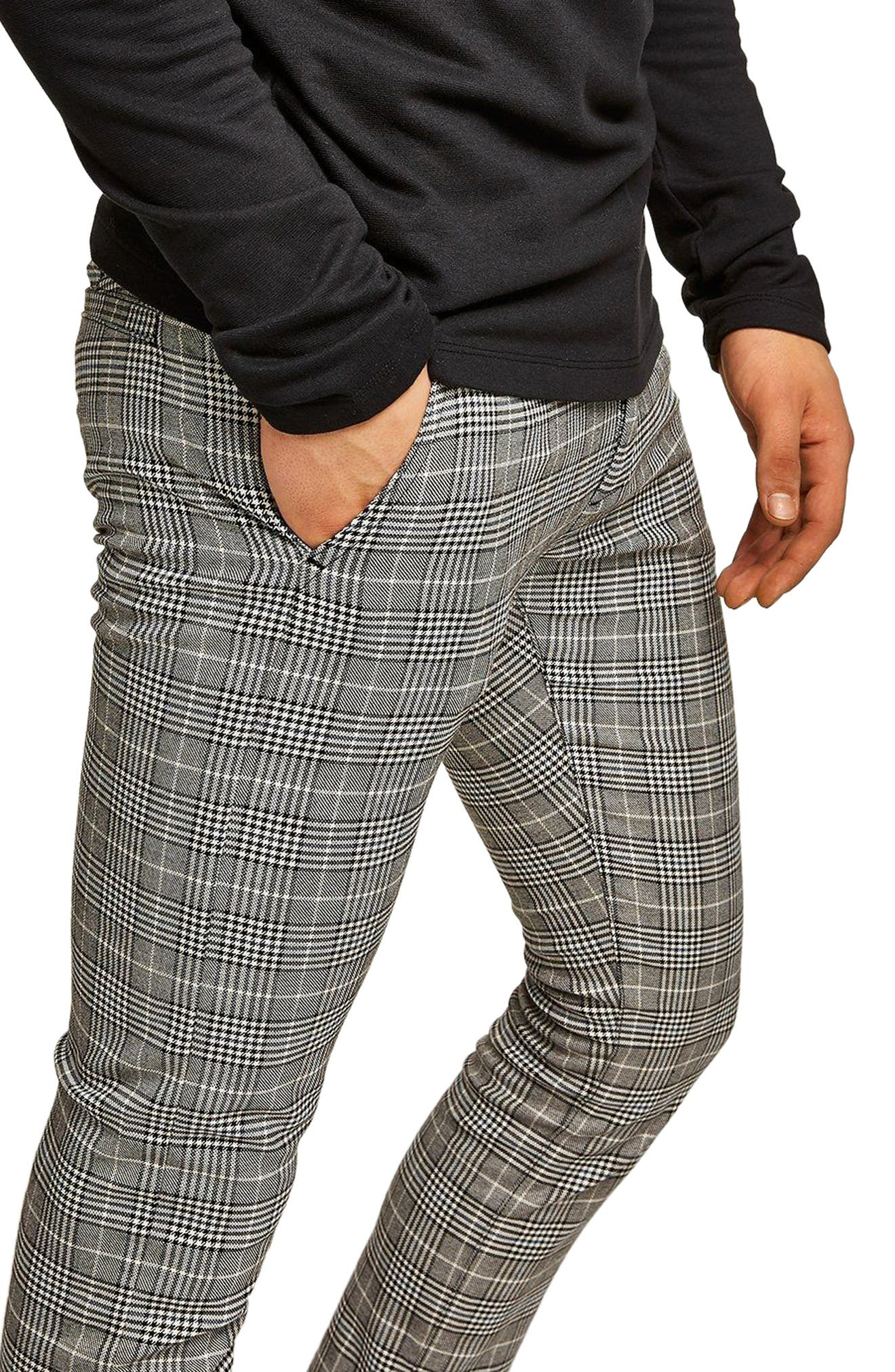 Stretch Skinny Fit Check Chinos,                             Alternate thumbnail 3, color,                             Grey Multi