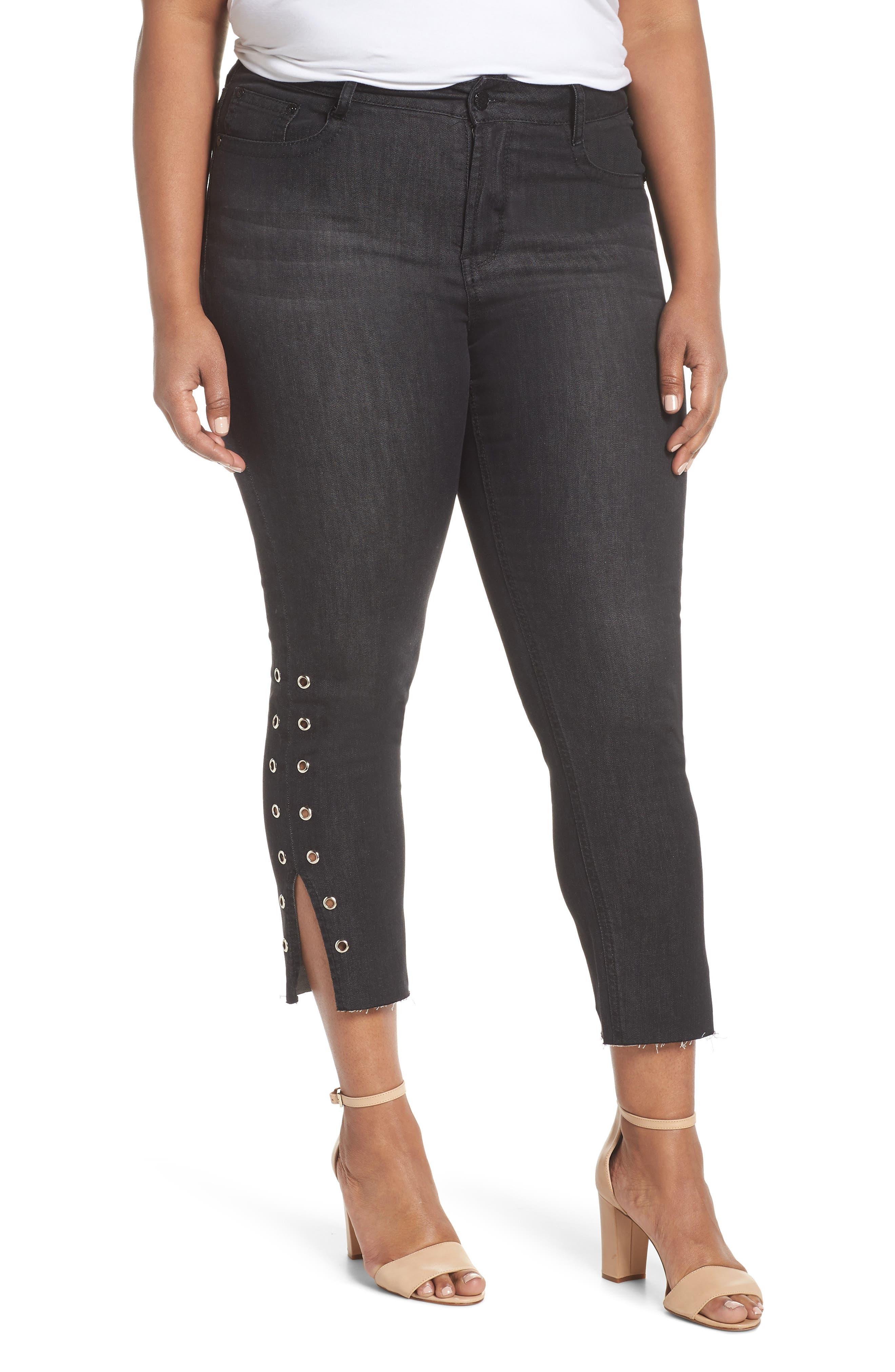 Grommet Slit Hem Ankle Skinny Jeans,                         Main,                         color, Black