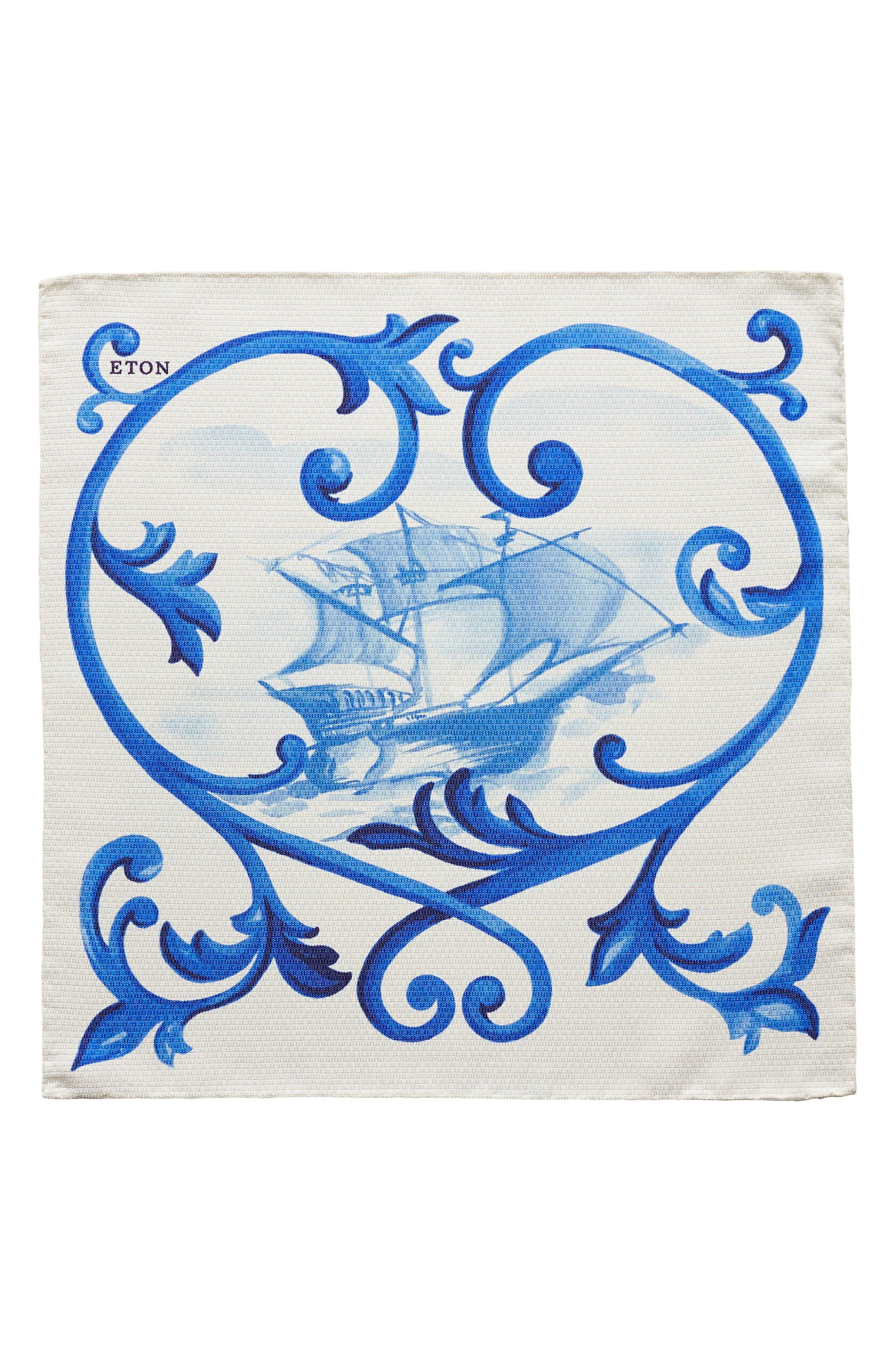 Geometric Ship Silk Pocket Square,                             Alternate thumbnail 3, color,                             Blue