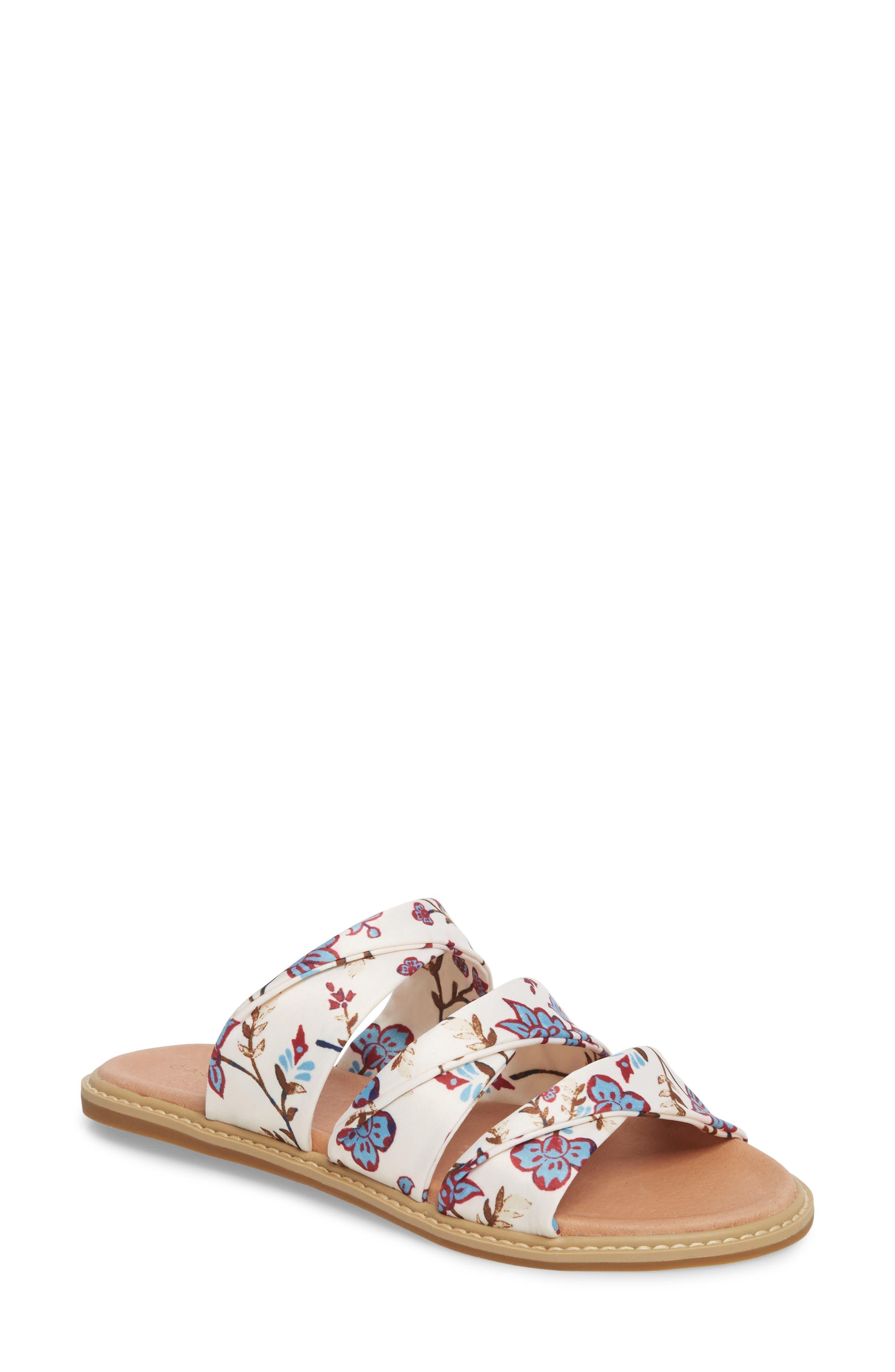 Cooper Slide Sandal,                         Main,                         color, White Agrestic Fabric