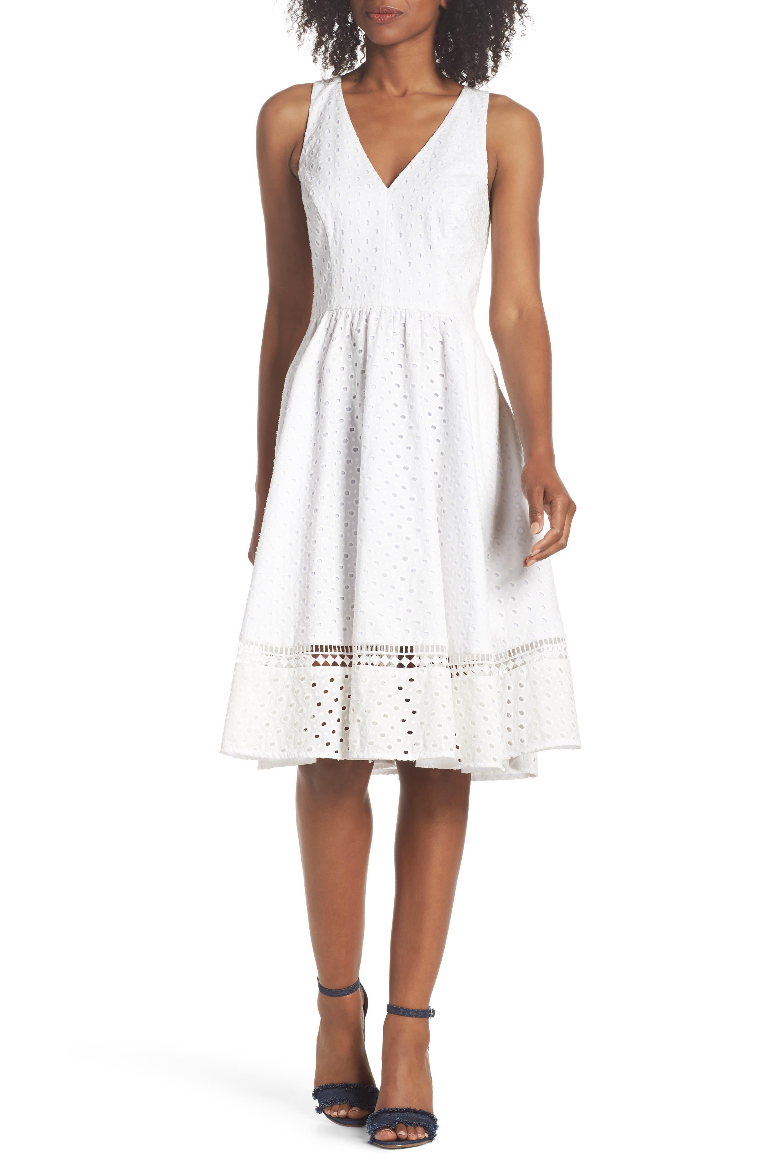 Bow Back Eyelet Sundress,                         Main,                         color, White