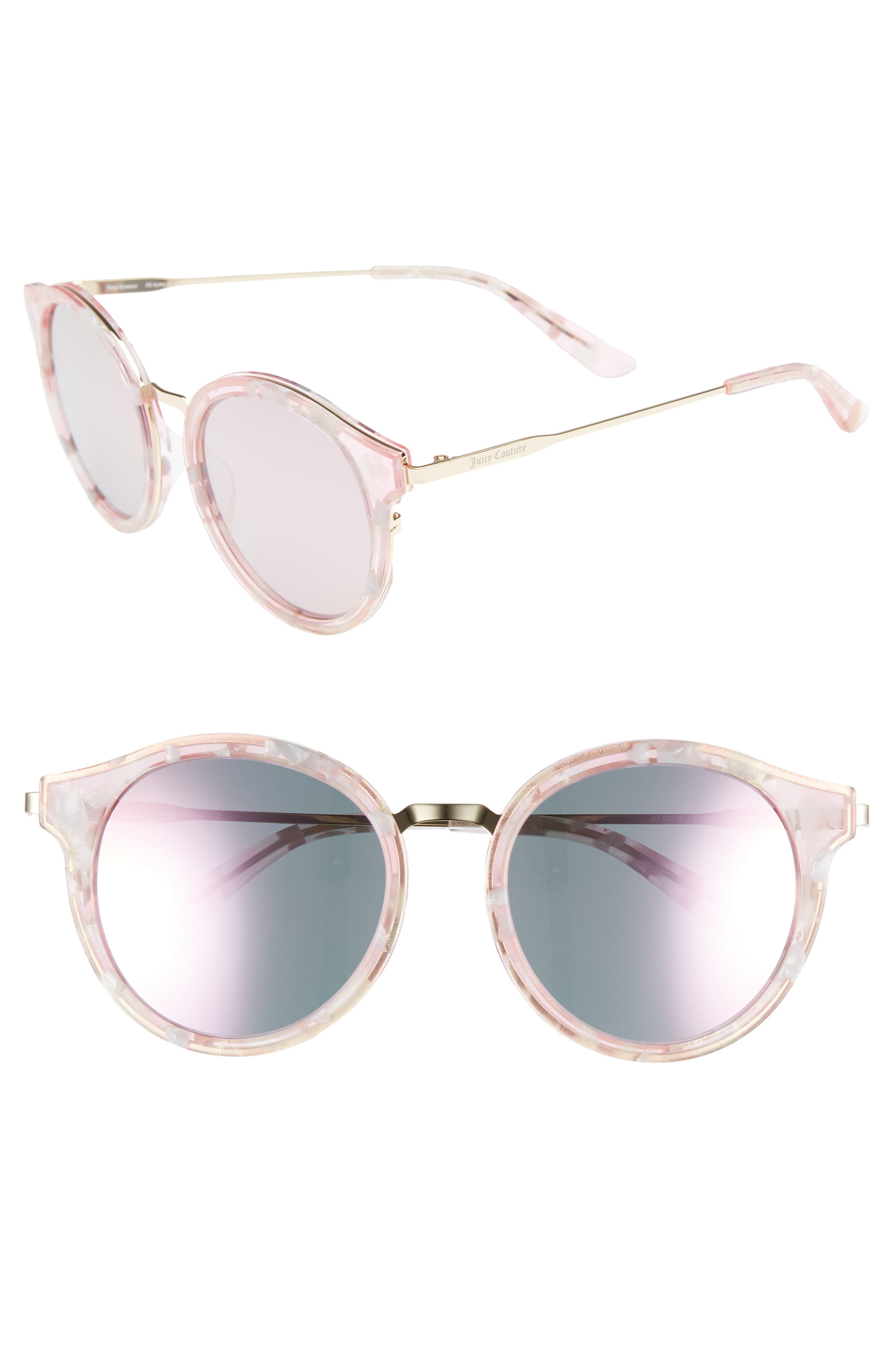 JUICY COUTURE 52MM ROUND SUNGLASSES - PINK/ GOLD