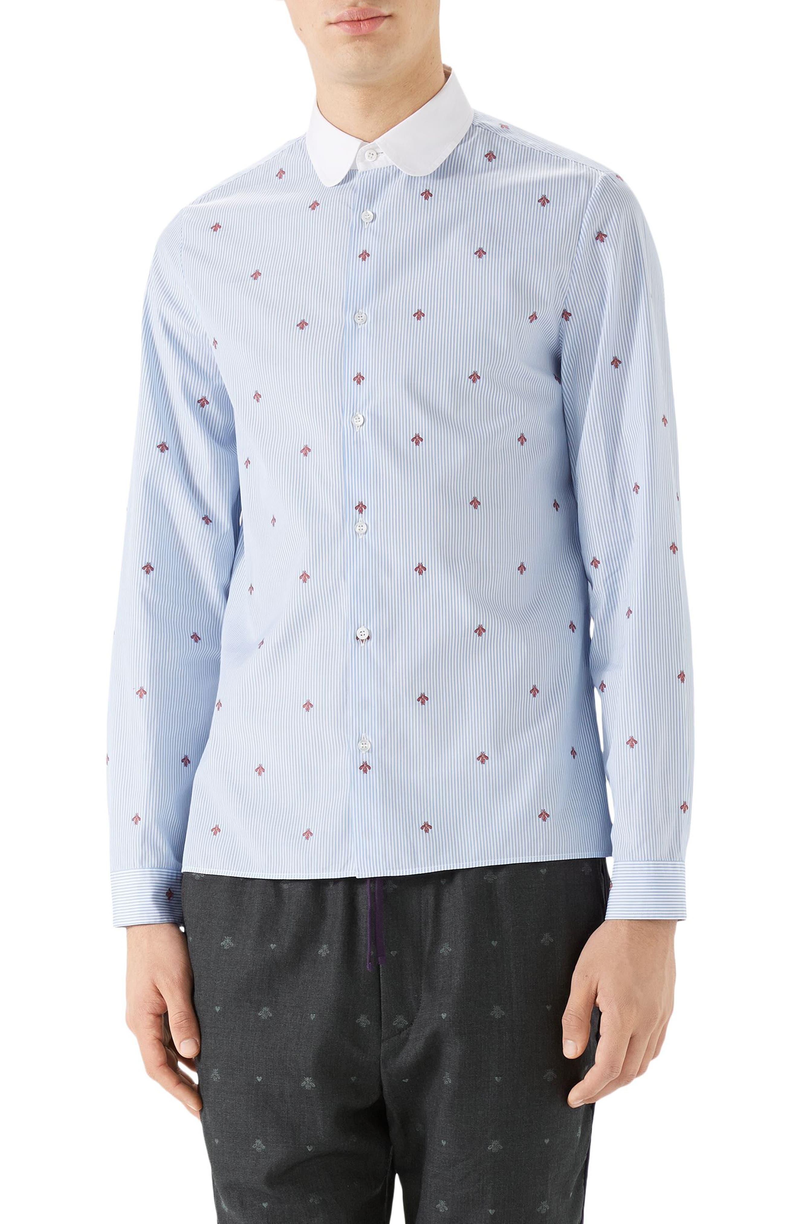 Bee Fil Coupé Sport Shirt,                         Main,                         color, Sky Blue/ White