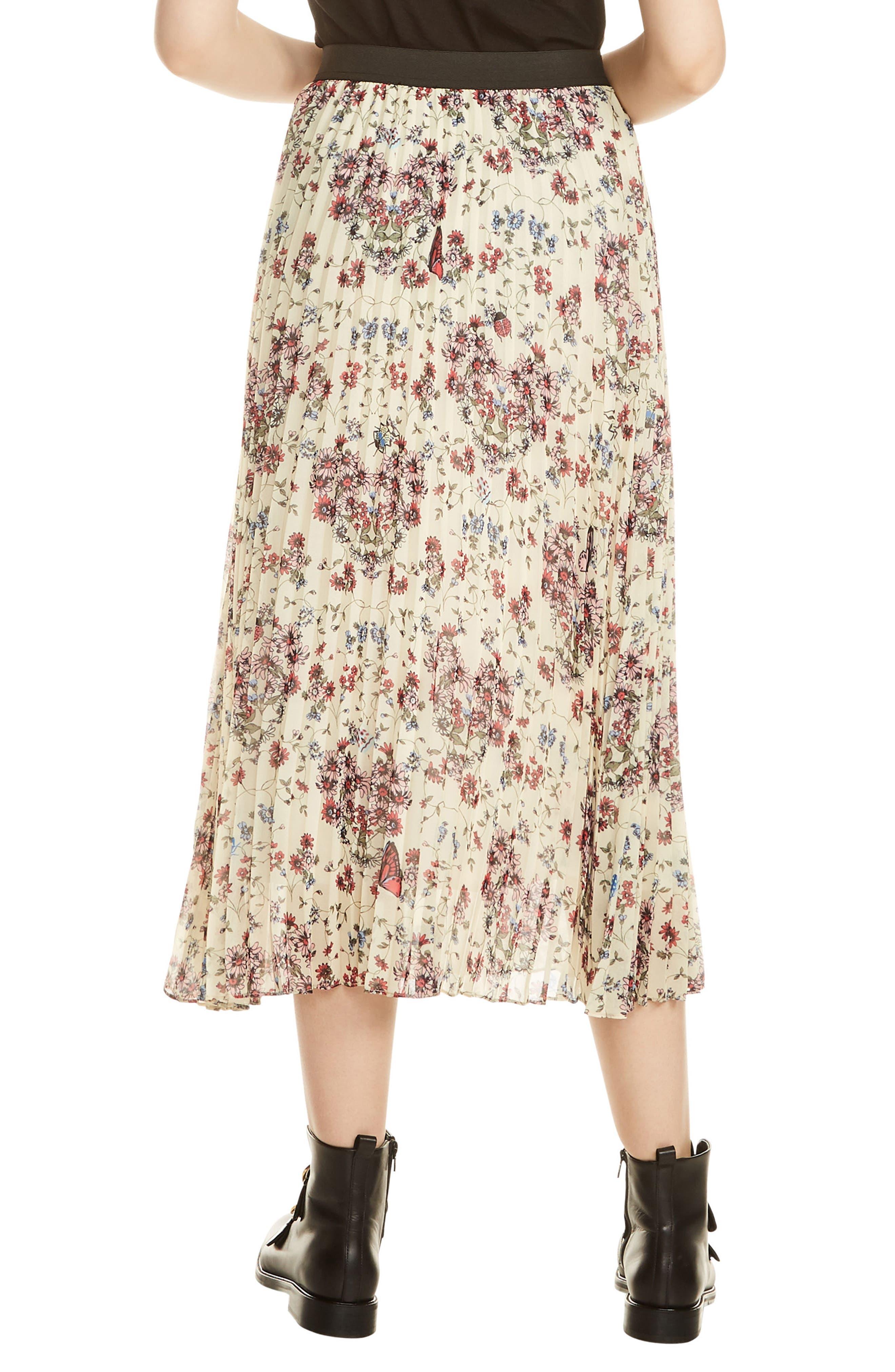 Floral Pleated Midi Skirt,                             Alternate thumbnail 2, color,                             Imprime