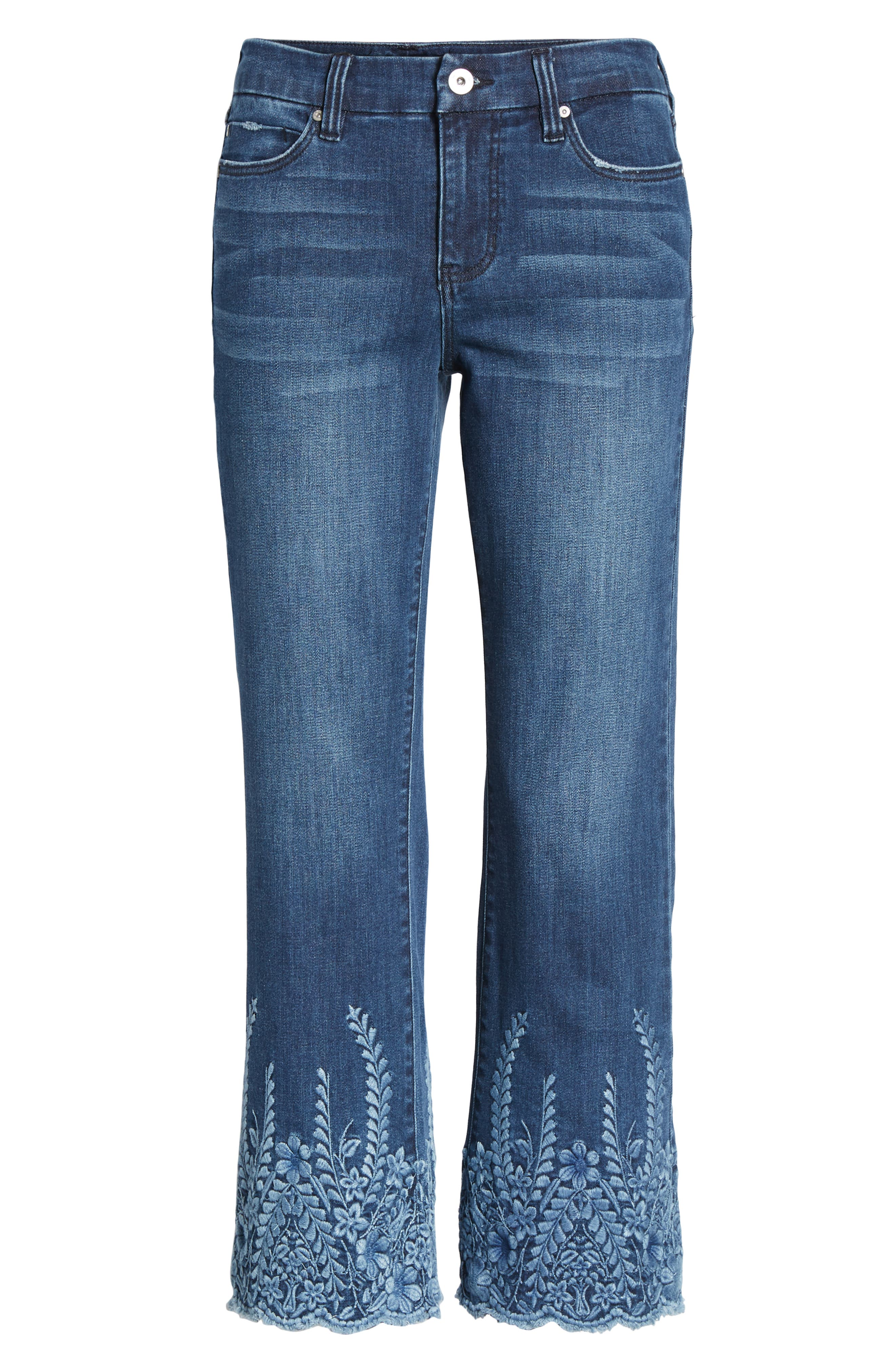 LVPL by Liverpool Coco Embroidered Hem Crop Jeans,                             Alternate thumbnail 7, color,                             Willow Wash