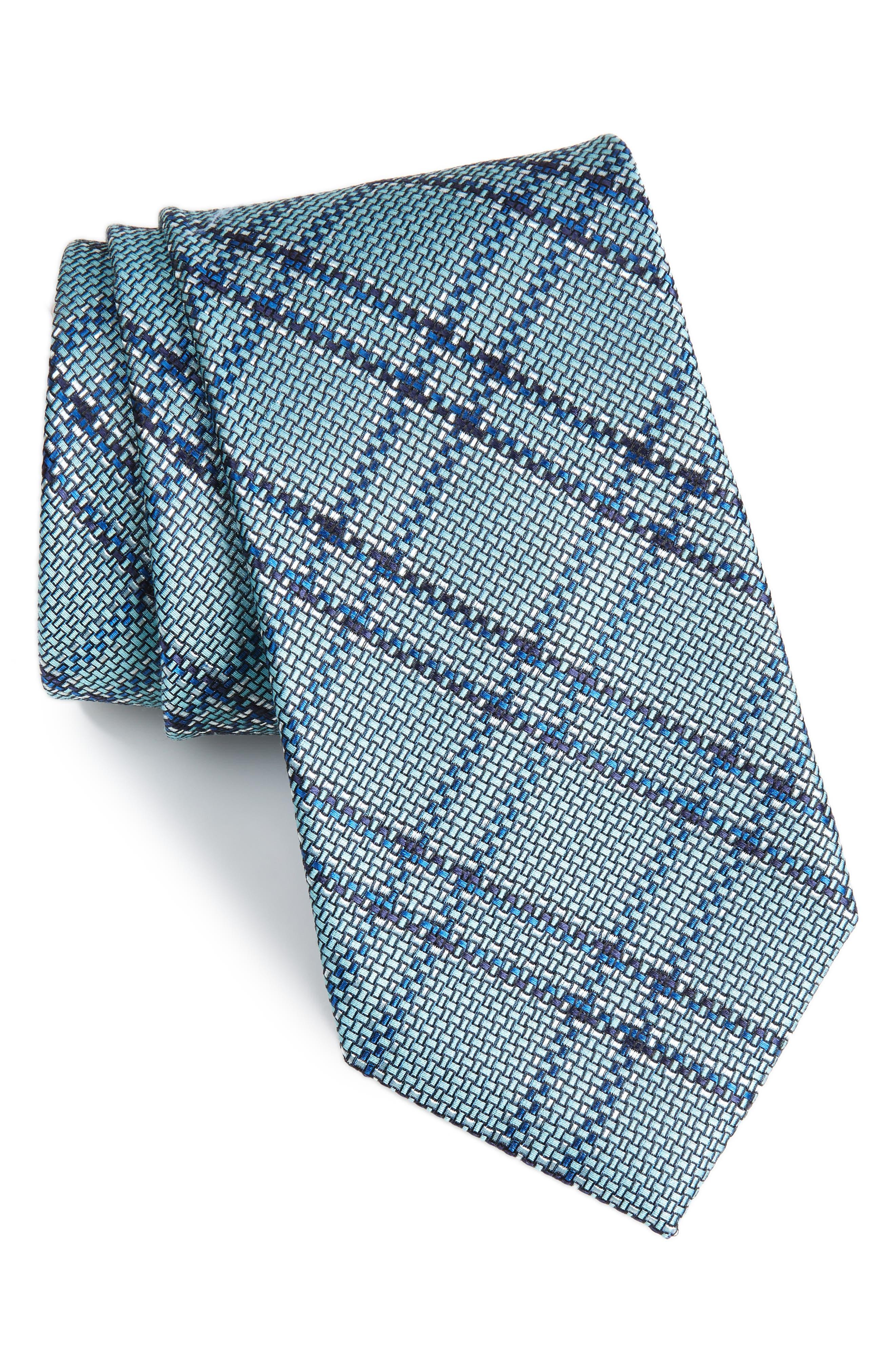 Tasker Plaid Silk & Cotton Tie,                         Main,                         color, Mint